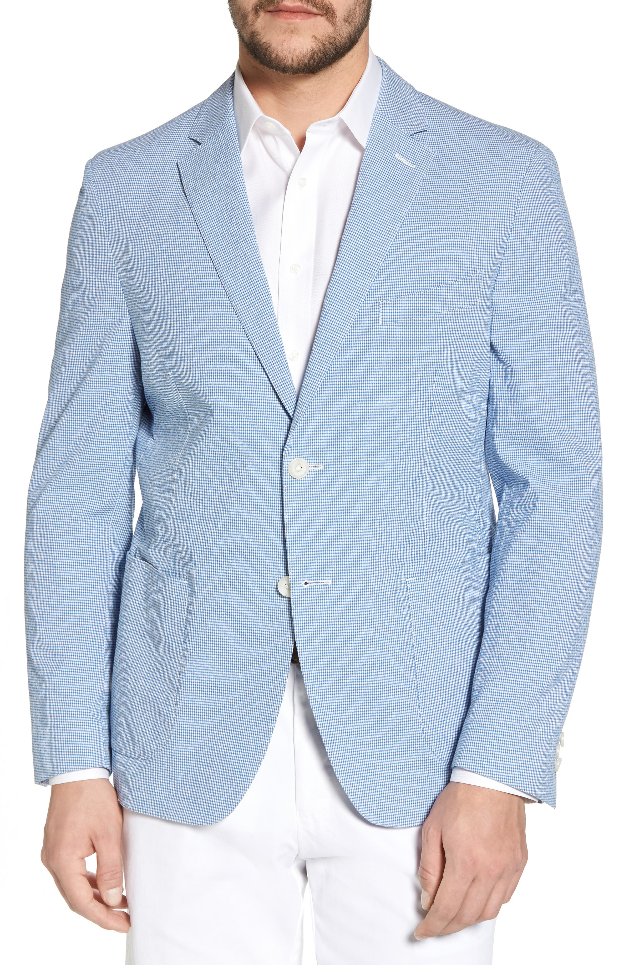 Slim Fit Microcheck Soft Sport Coat,                             Main thumbnail 1, color,                             Blue