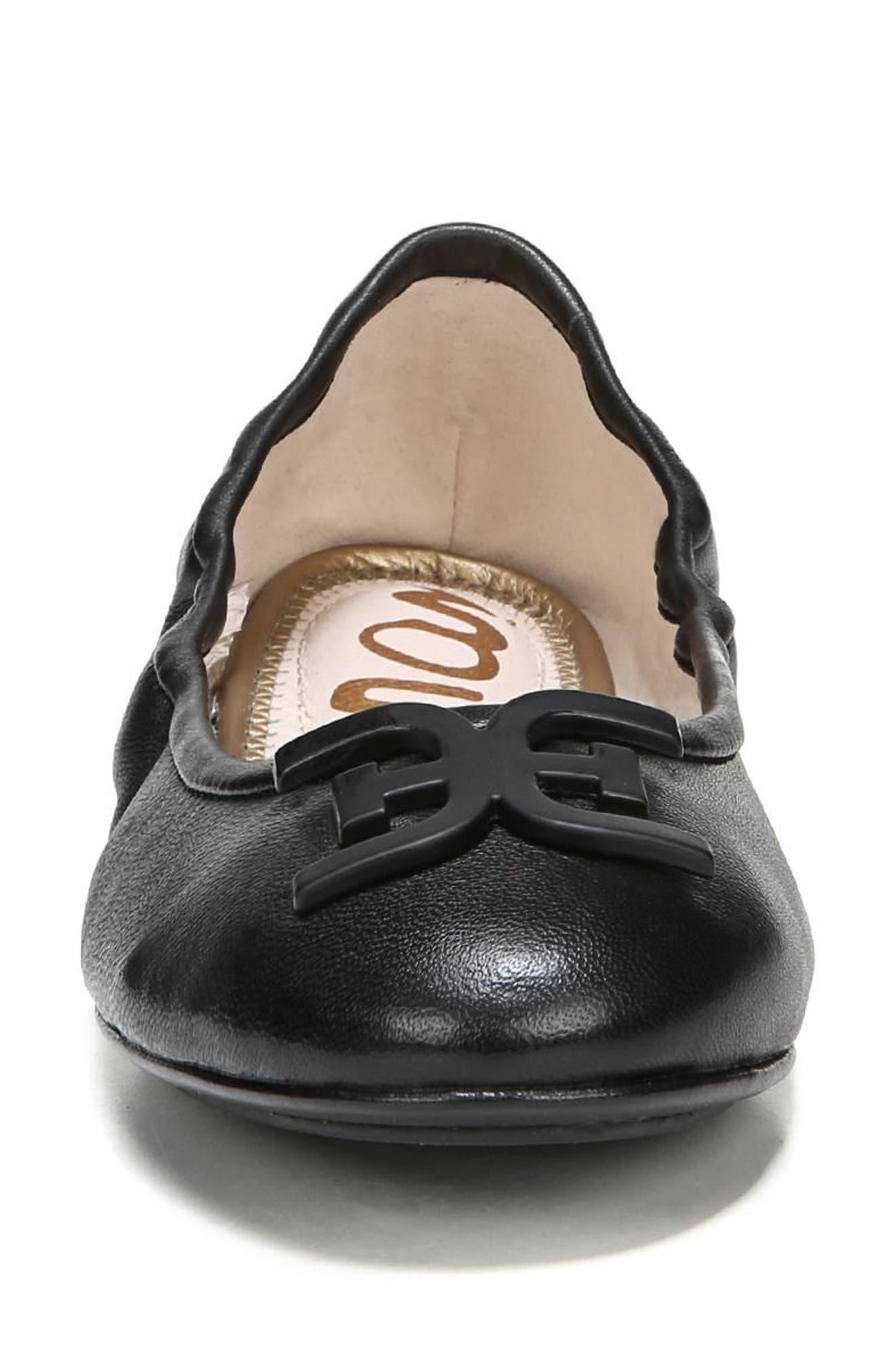 Florence Ballet Flat,                             Alternate thumbnail 4, color,                             Black Leather