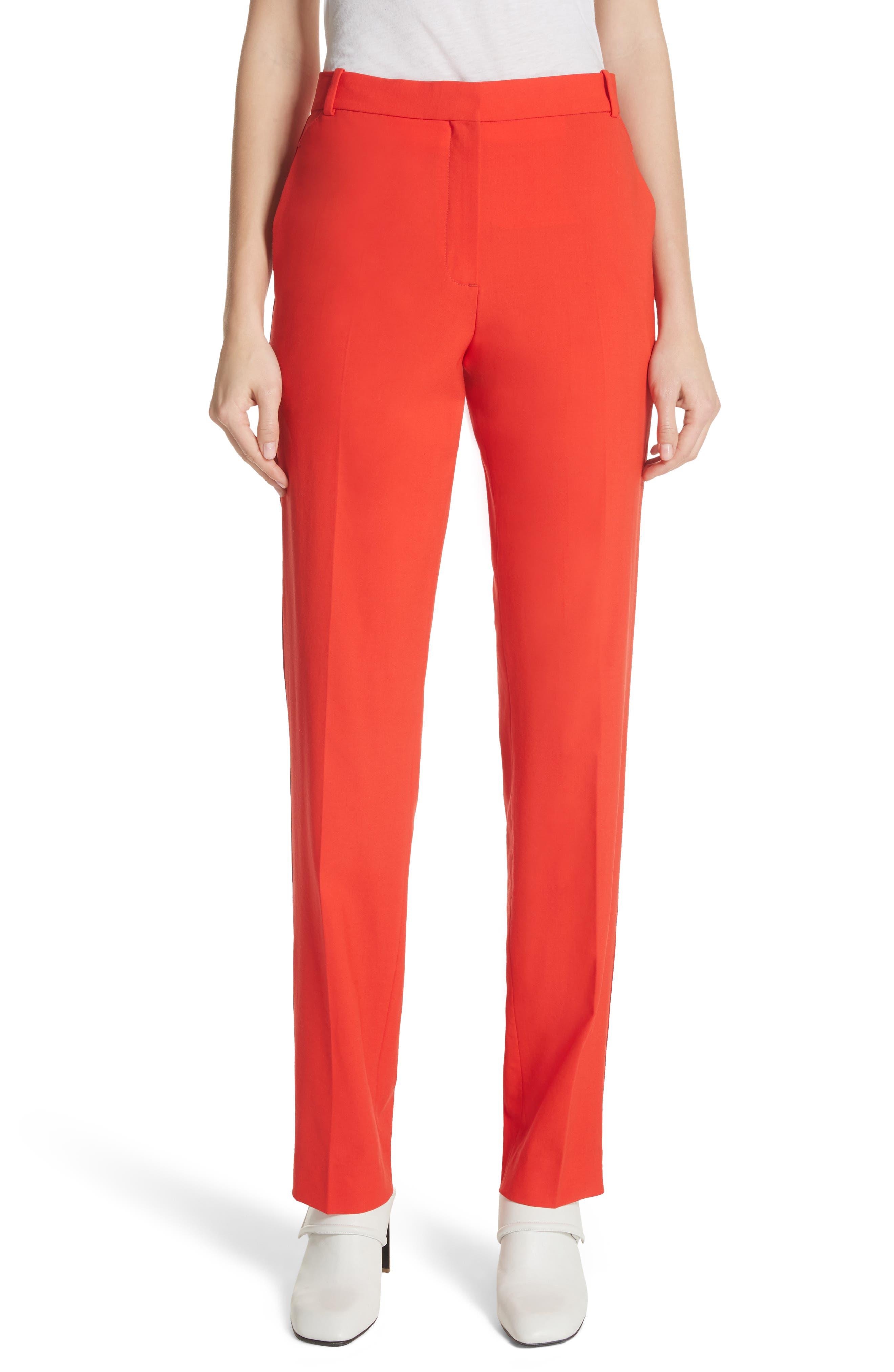 Oman Side Stripe Wool Blend Pants,                             Main thumbnail 1, color,                             Red