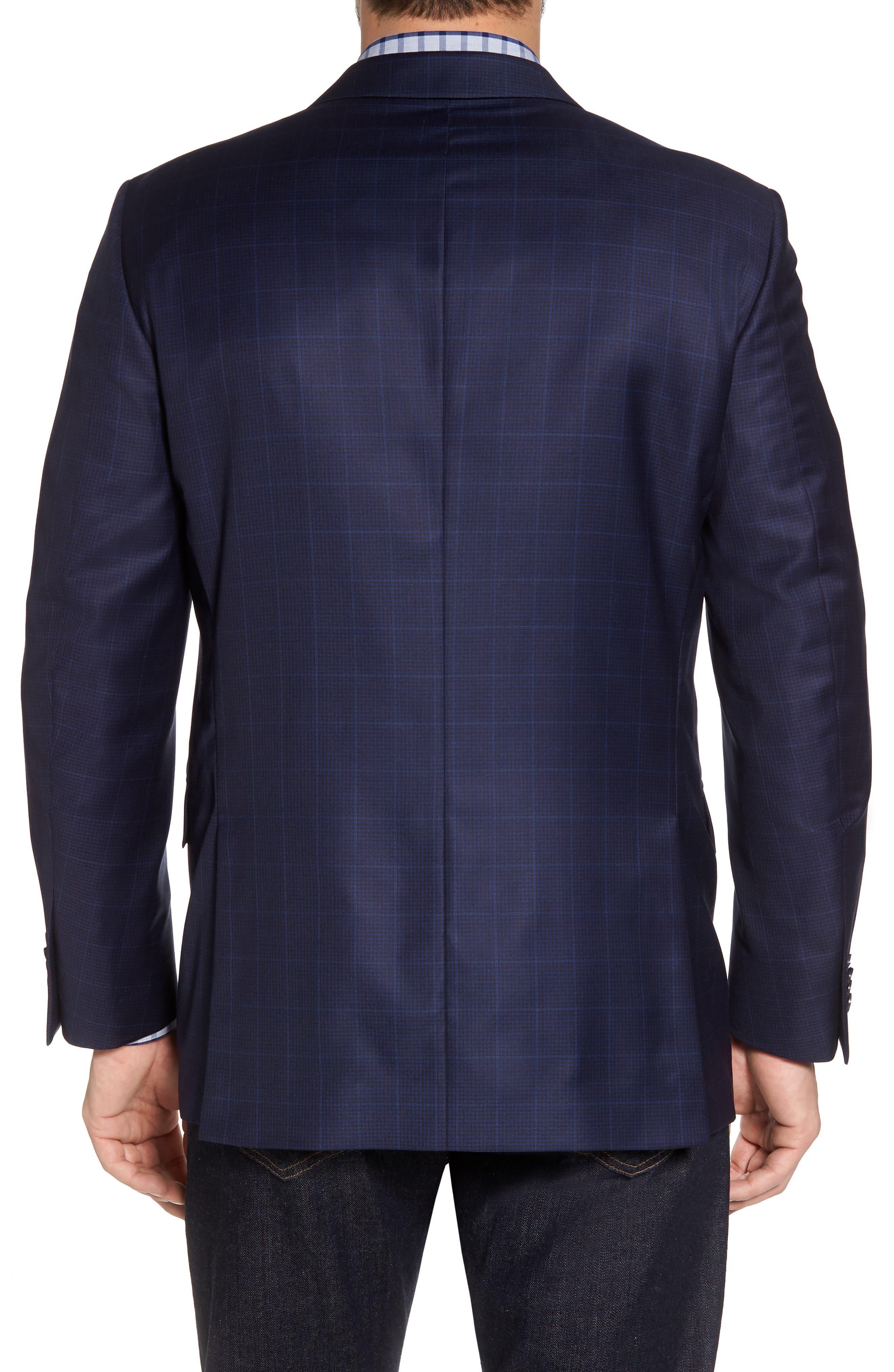 Classic Fit Windowpane Wool Sport Coat,                             Alternate thumbnail 2, color,                             Navy