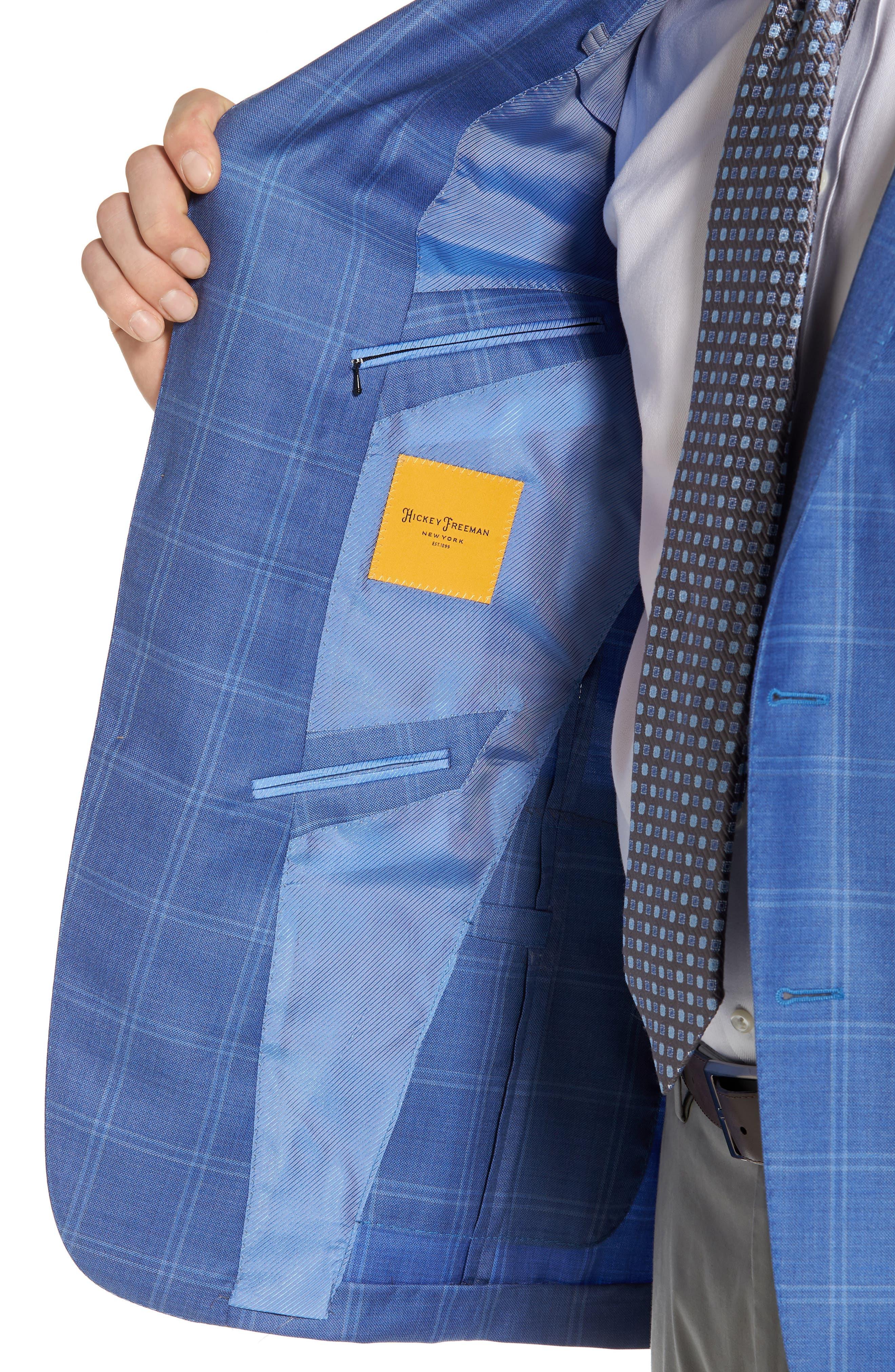 Global Guardian Classic B Fit Windowpane Wool Sport Coat,                             Alternate thumbnail 4, color,                             Light Blue