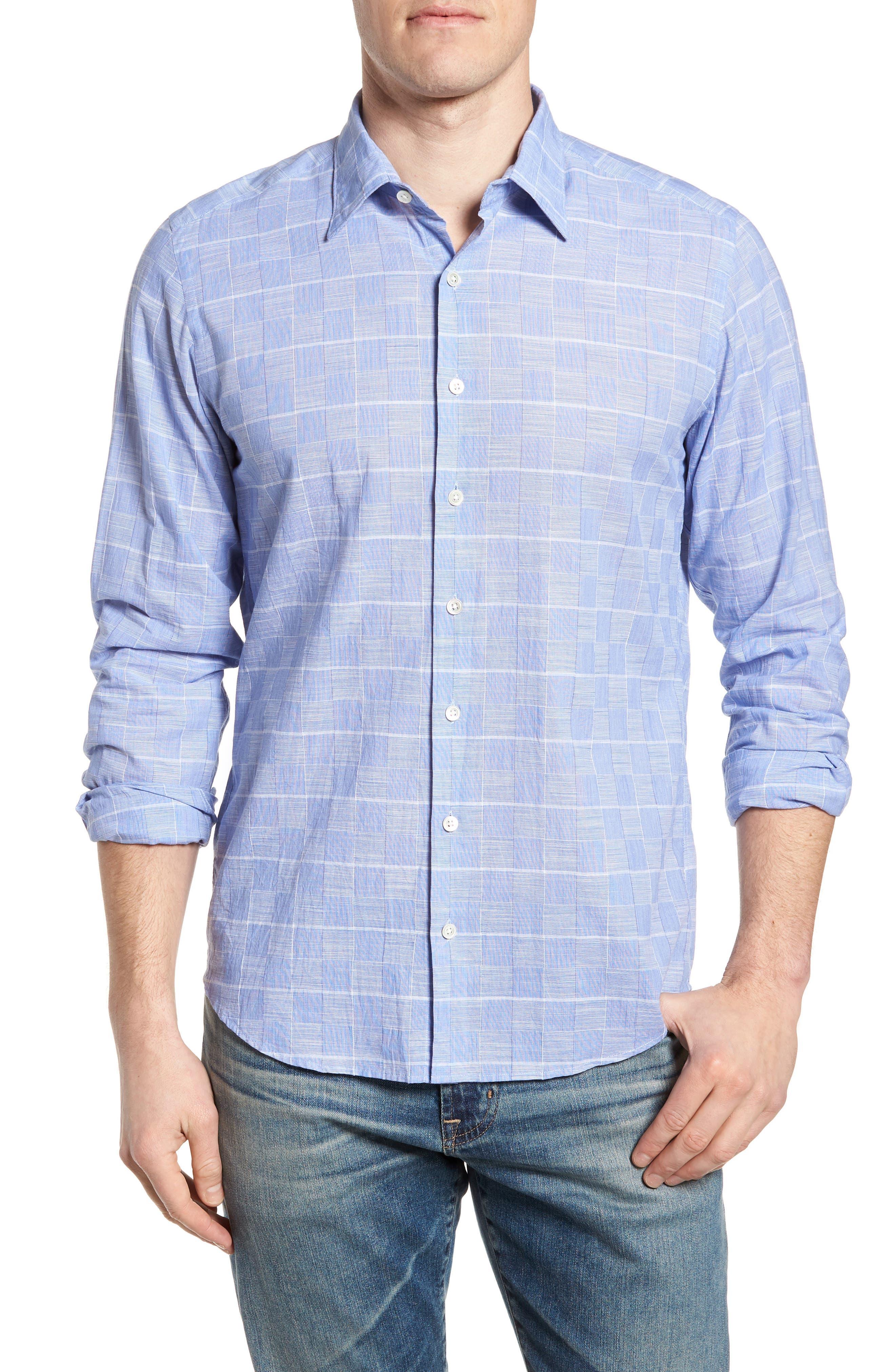 Tussock Creek Regular Fit Check Sport Shirt,                             Main thumbnail 1, color,                             Azure