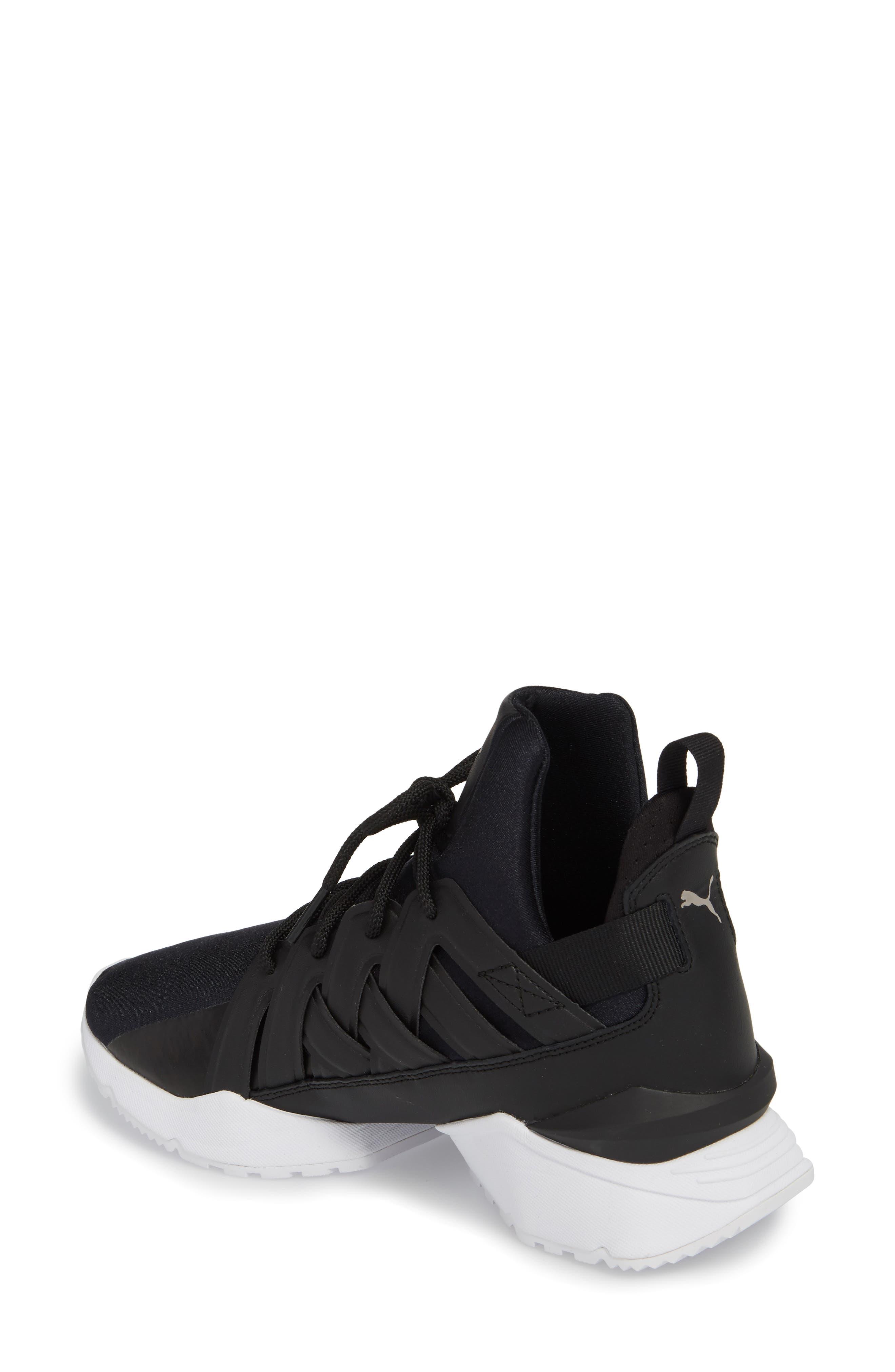 Muse Echo Satin En Pointe High Top Sneaker,                             Alternate thumbnail 2, color,                             Puma Black/ Puma White