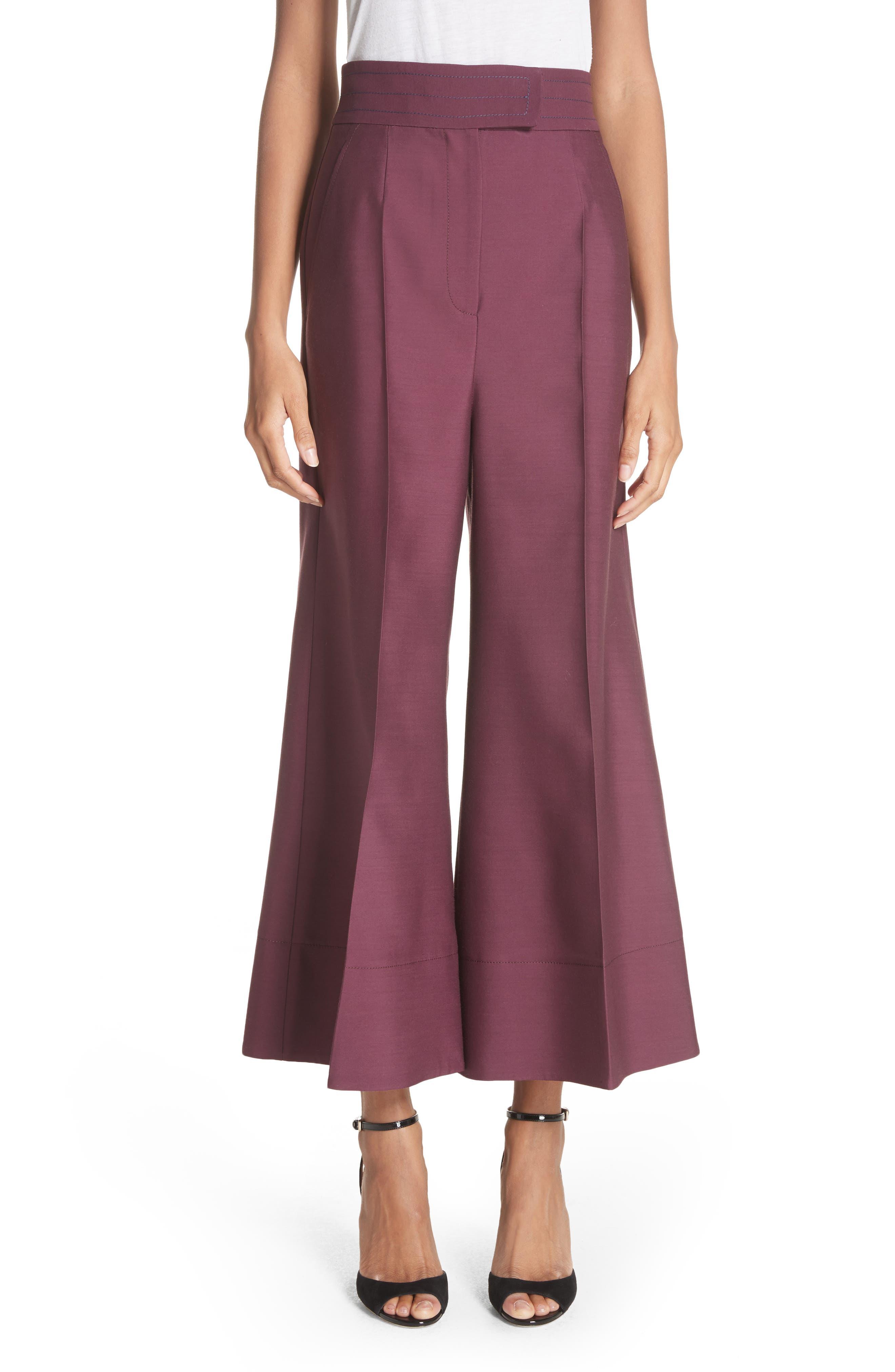Sina Wide Leg Trousers,                             Main thumbnail 1, color,                             Plum
