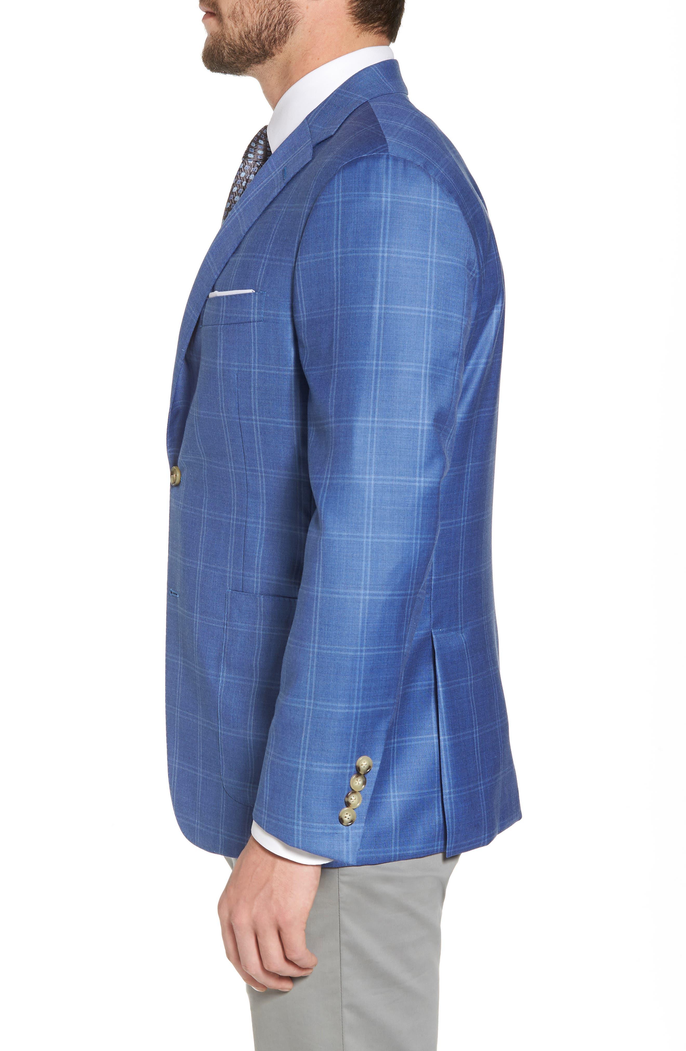Global Guardian Classic B Fit Windowpane Wool Sport Coat,                             Alternate thumbnail 3, color,                             Light Blue