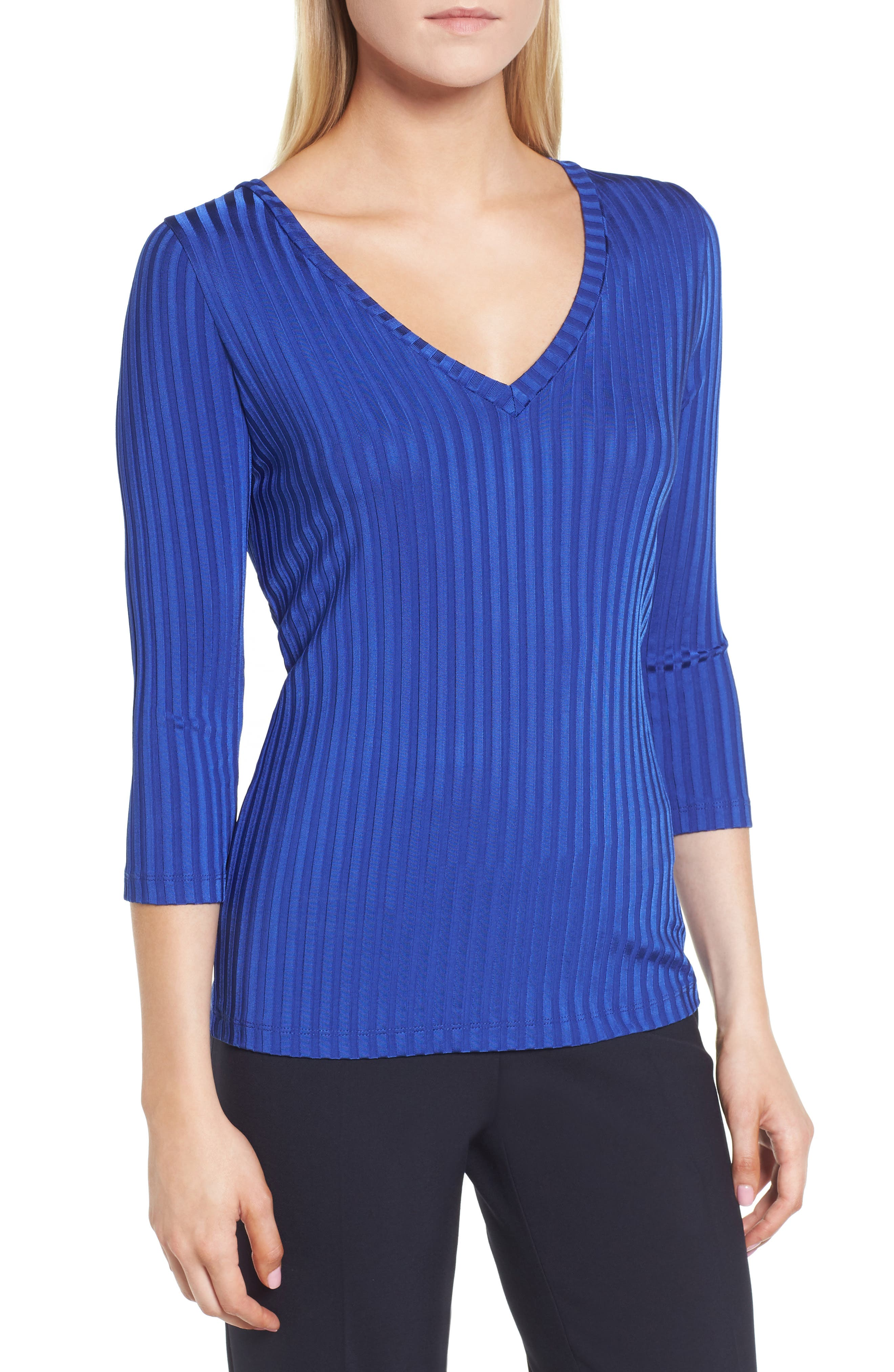 Etrica V-Neck Ribbed Top,                             Main thumbnail 1, color,                             Sailor Blue