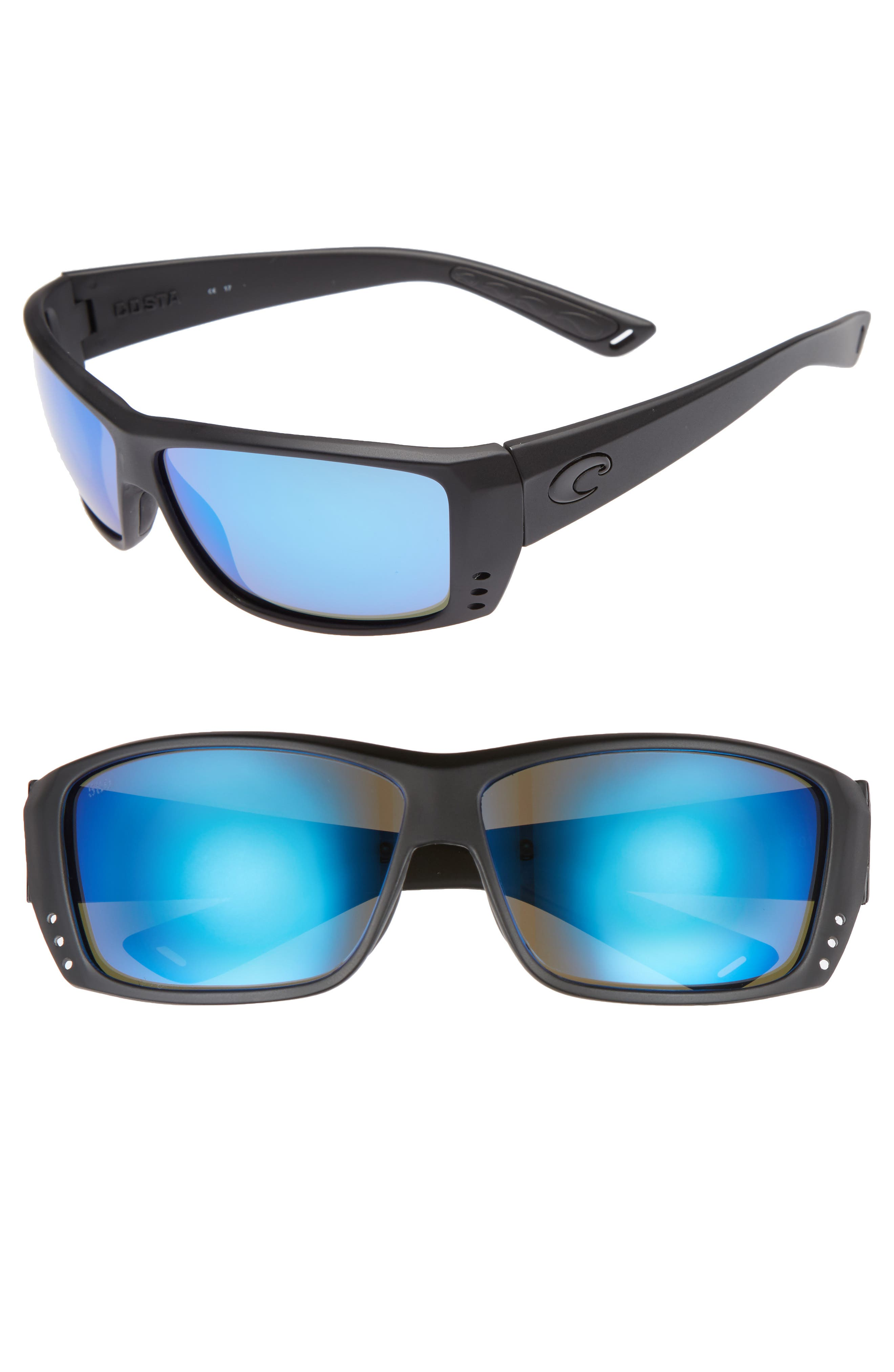 Cat Cay 60mm Polarized Sunglasses,                         Main,                         color, Blackout/ Blue Mirror