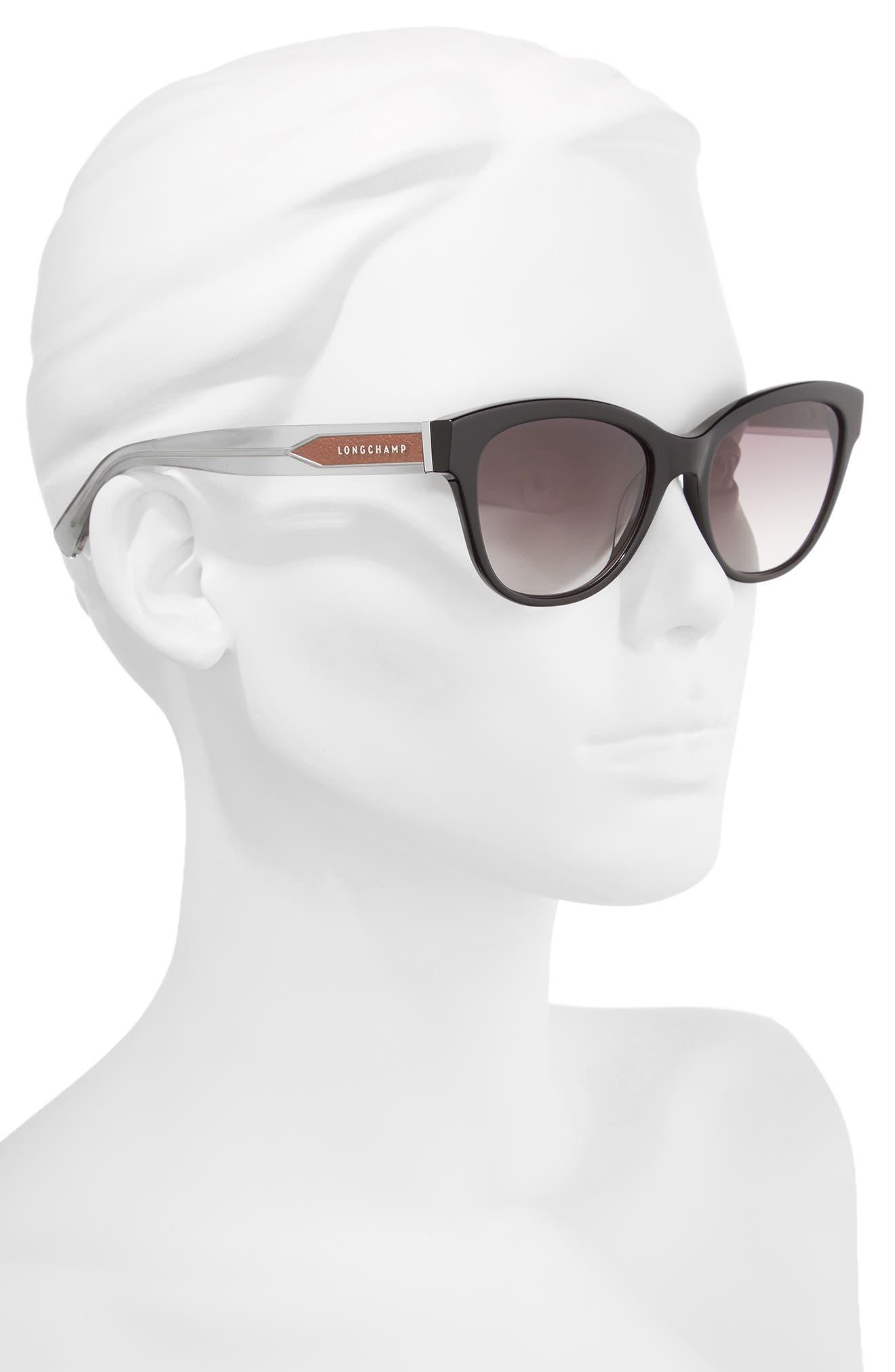 54mm Gradient Lens Sunglasses,                             Alternate thumbnail 2, color,                             Black