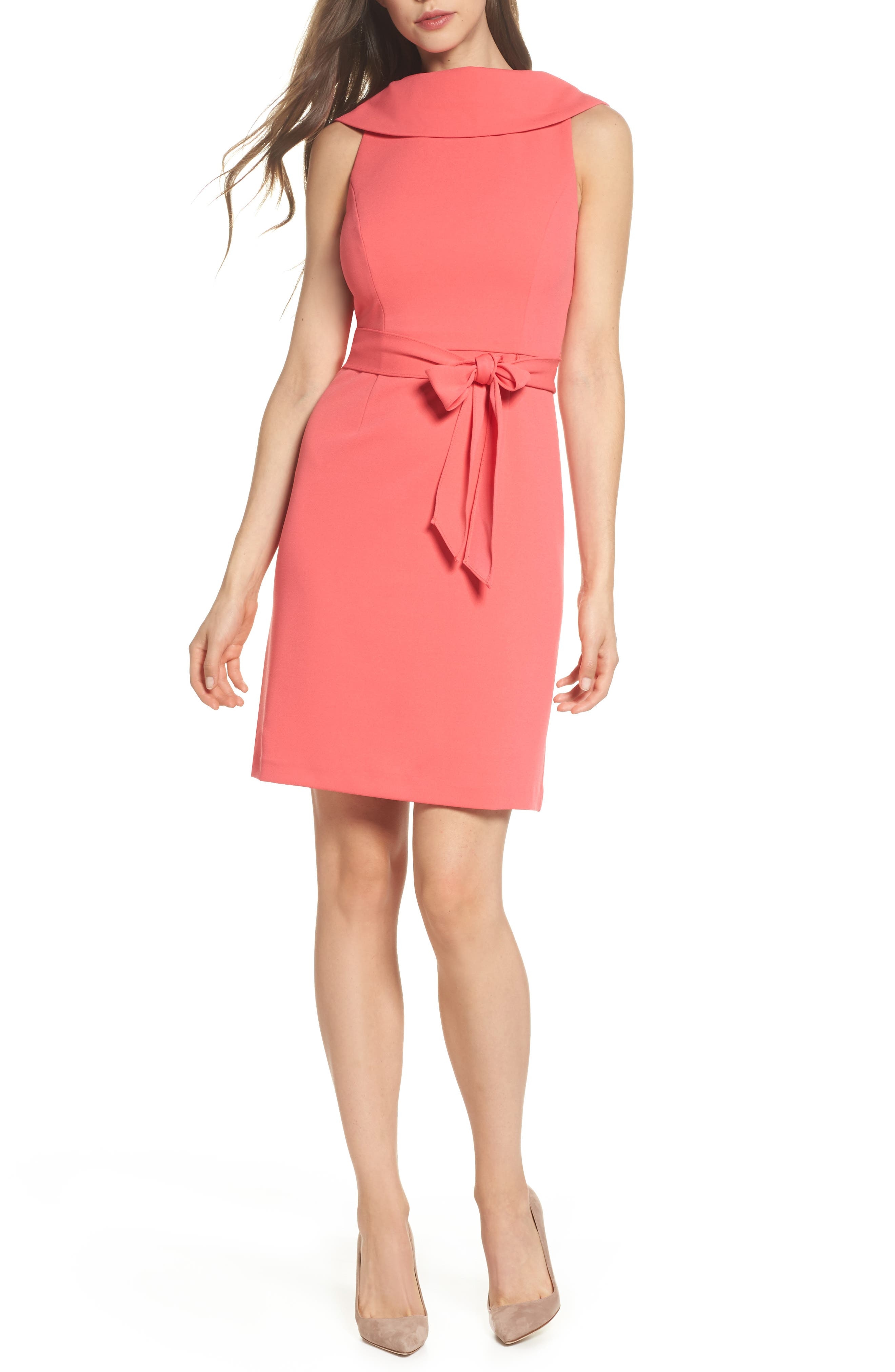Roll Neck Crepe Dress,                         Main,                         color, Strawberry Pink