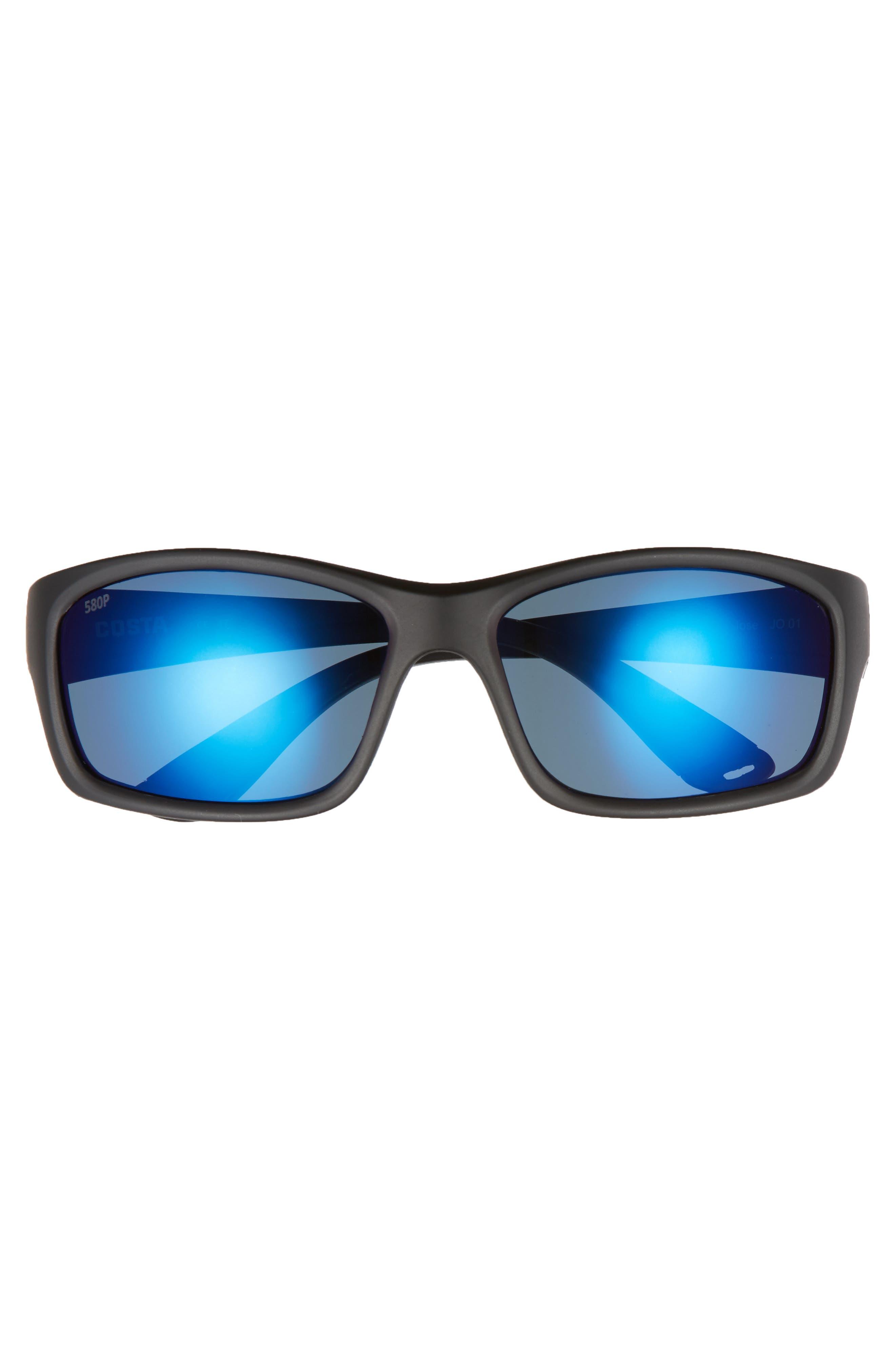 Jose 60mm Polarized Sunglasses,                             Alternate thumbnail 2, color,                             Blackout/ Blue Mirror