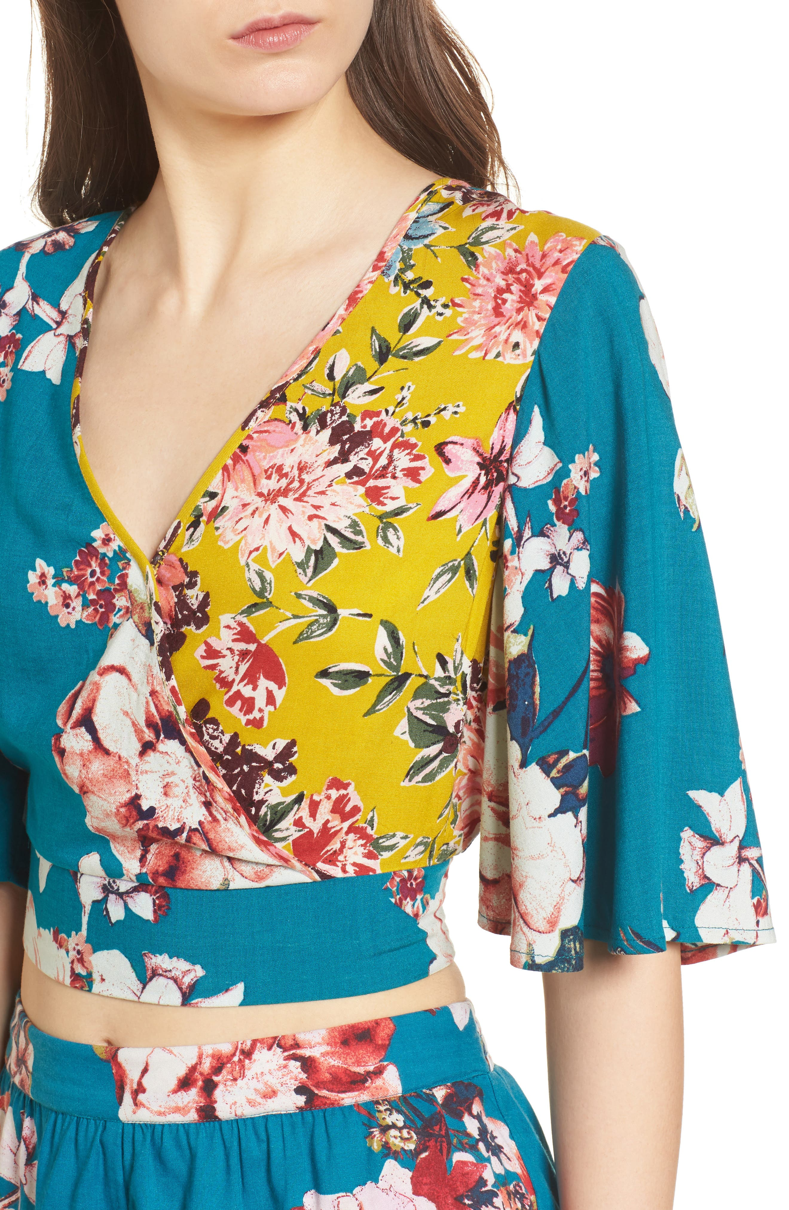 Mix Floral Crop Top,                             Alternate thumbnail 6, color,                             Teal/ Peach