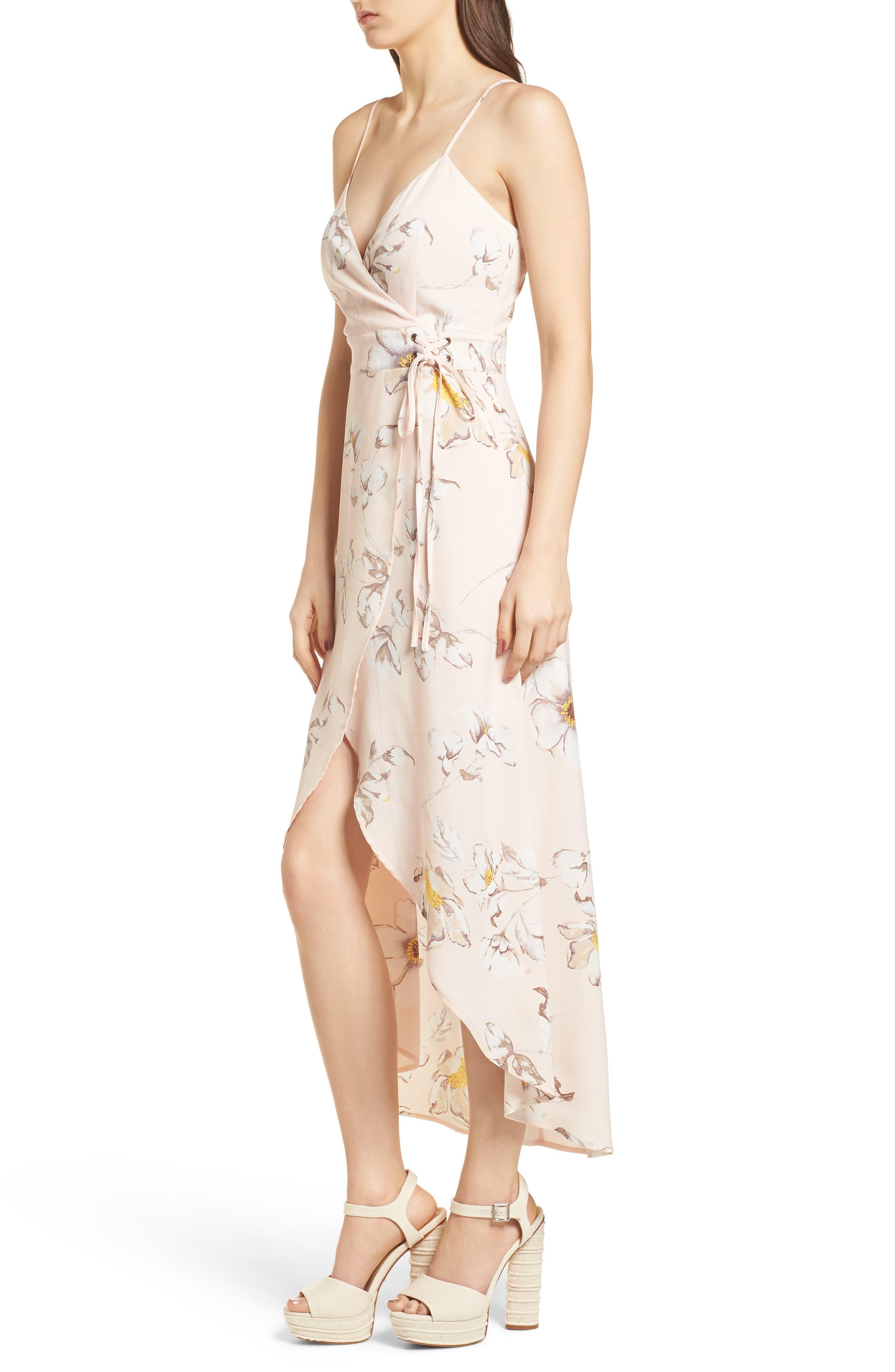 Faux Wrap Midi Dress,                             Alternate thumbnail 4, color,                             Blush Floral