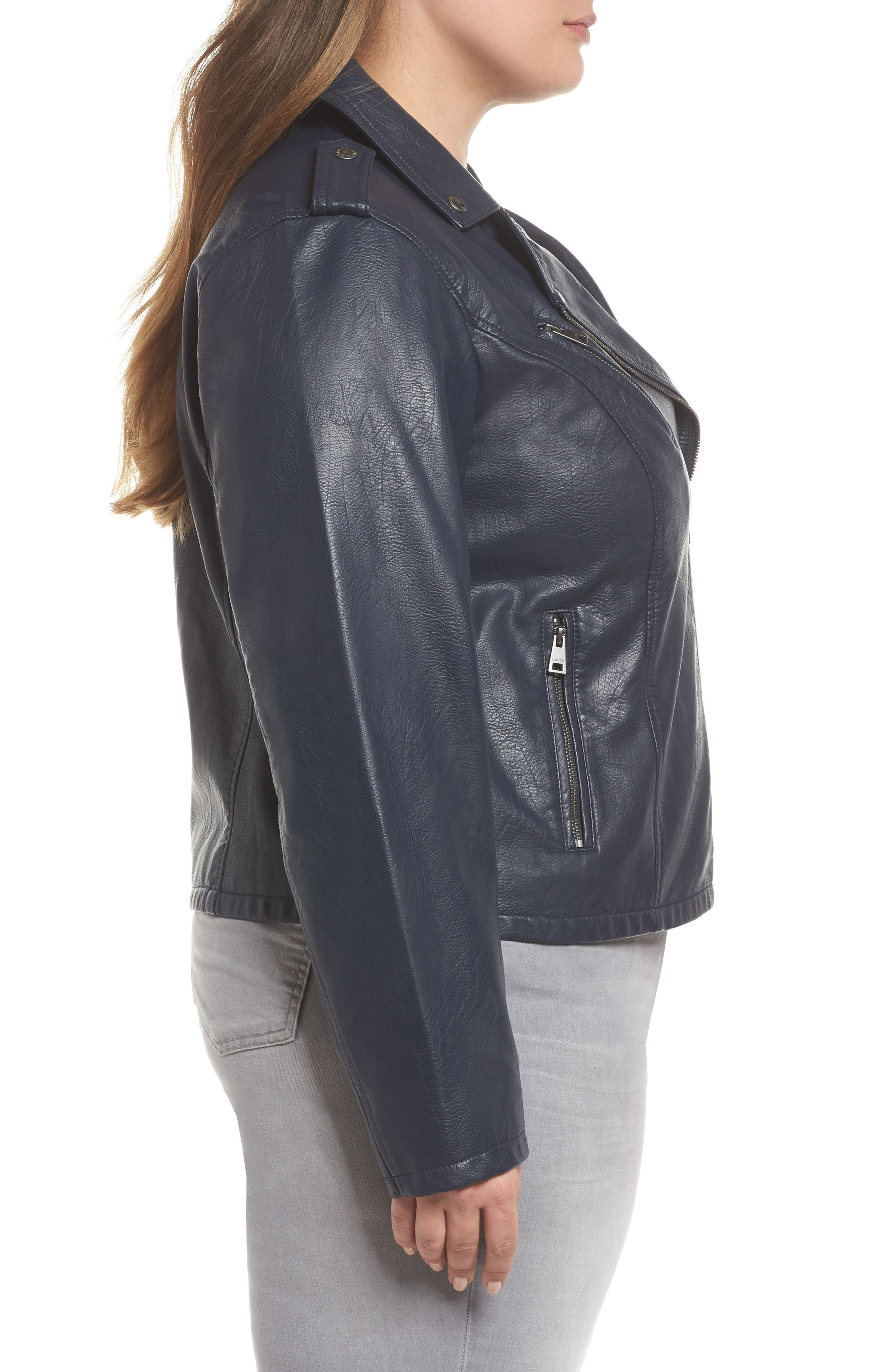 Faux Leather Jacket,                             Alternate thumbnail 3, color,                             Navy