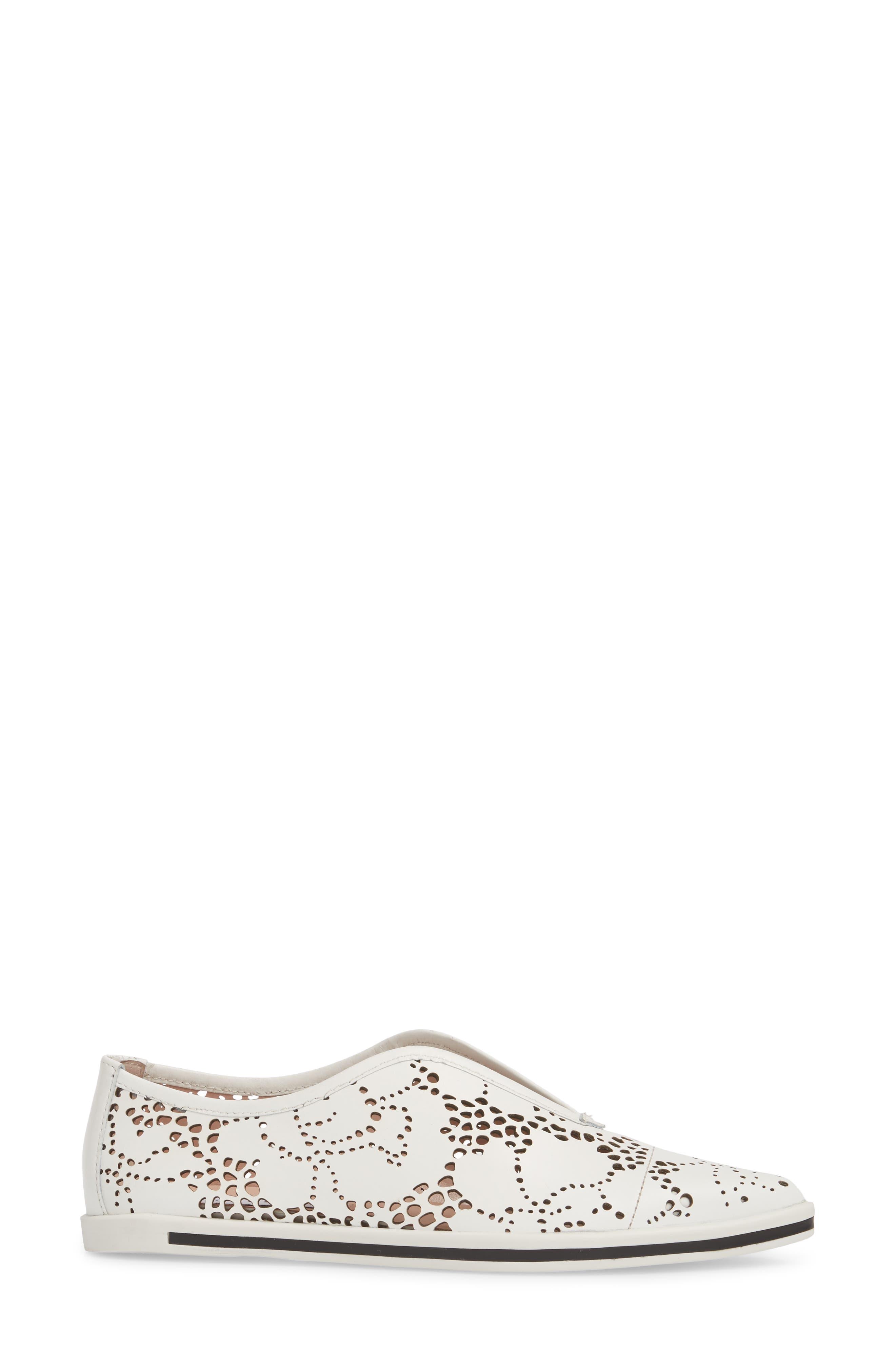 Tisha II Slip-On Sneaker,                             Alternate thumbnail 3, color,                             White Leather