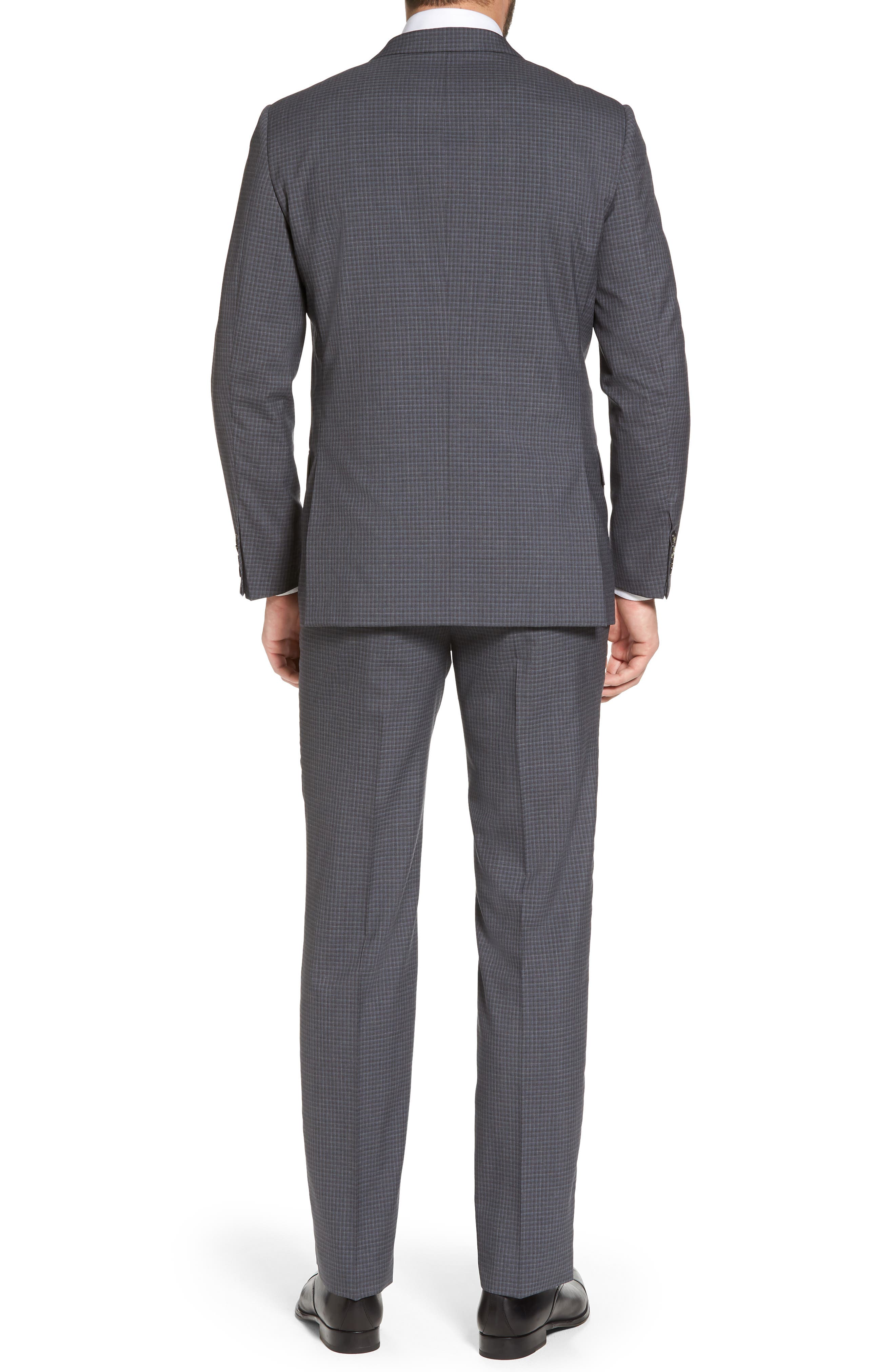 Classic B Fit Check Wool Suit,                             Alternate thumbnail 2, color,                             Charcoal