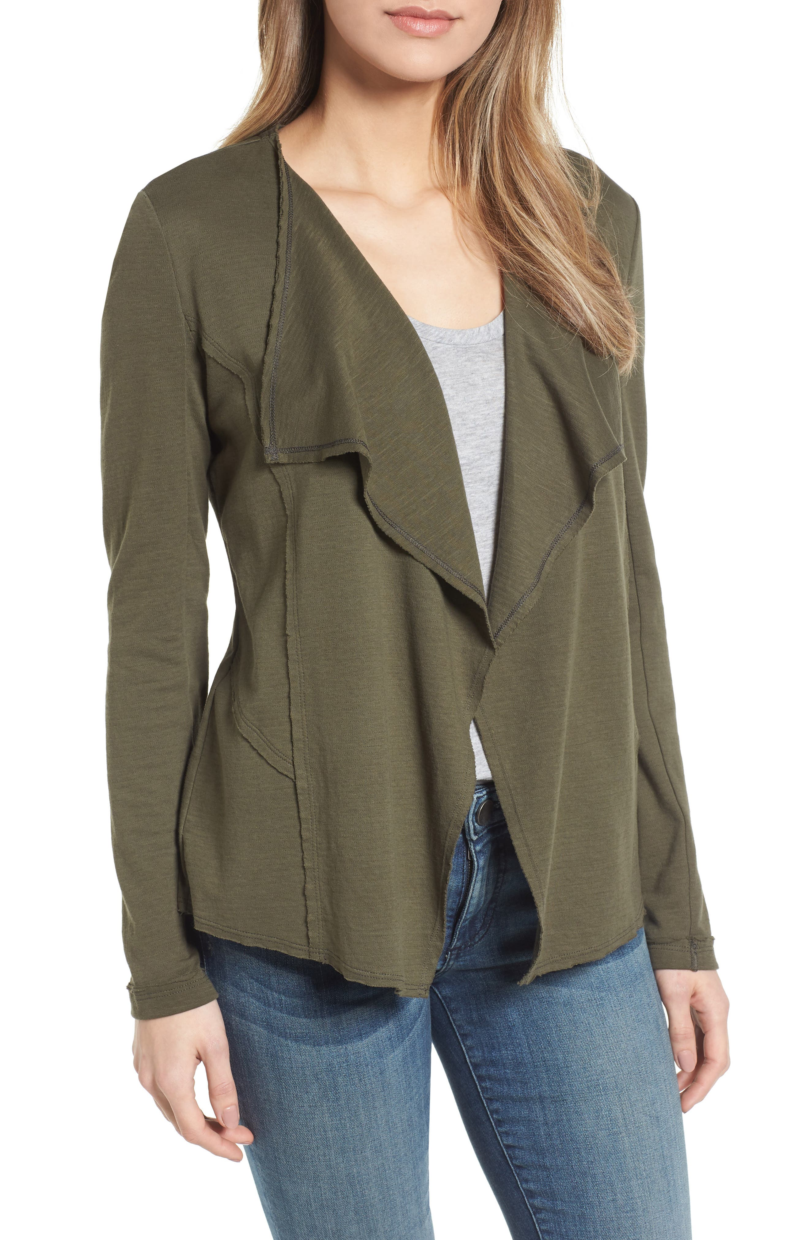 Caslon® Moto Collar Cotton Knit Jacket (Regular & Petite)