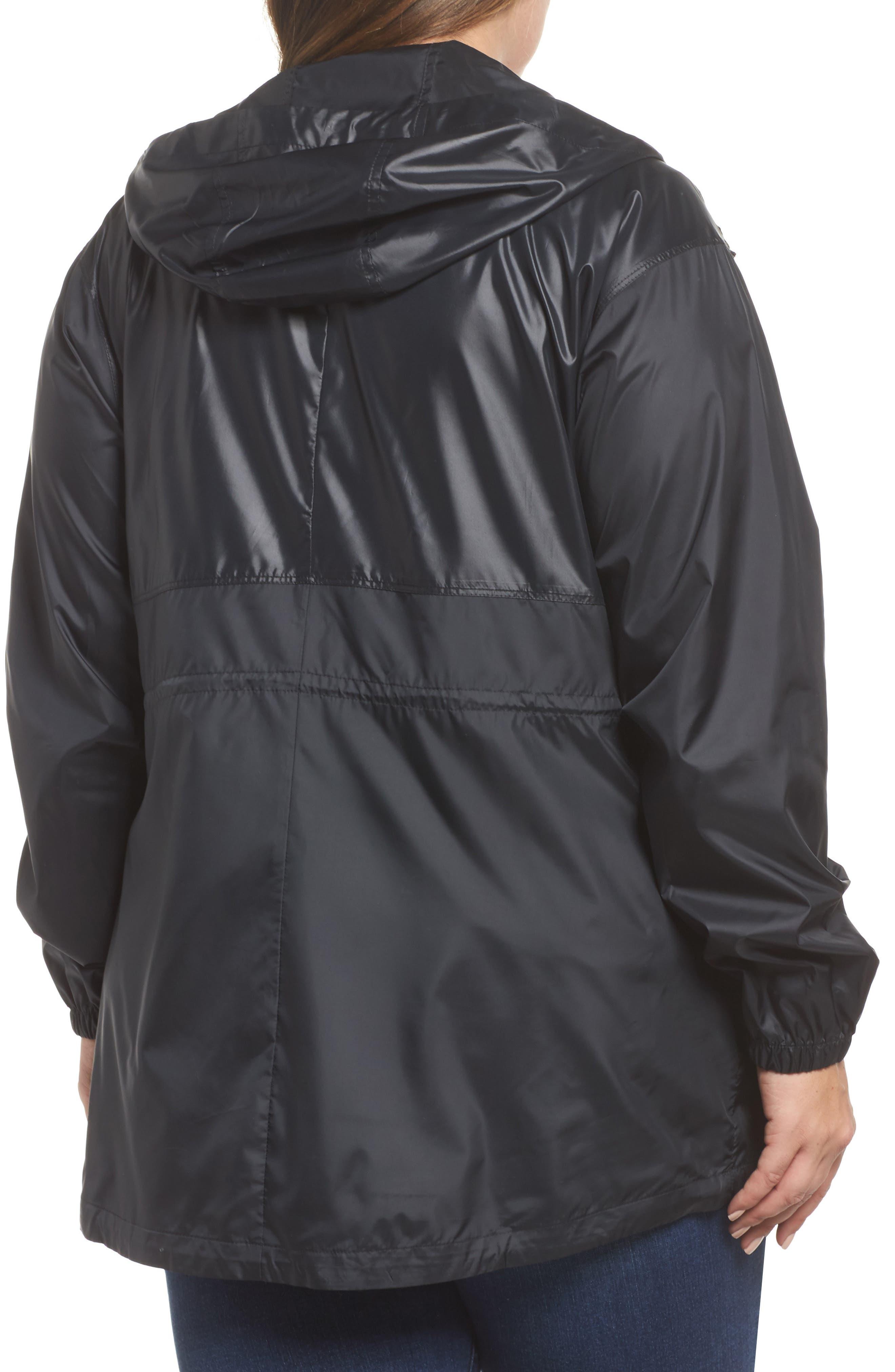 Flashback<sup>™</sup> Water Resistant Hooded Windbreaker,                             Alternate thumbnail 2, color,                             Black Shiny/ Matte White