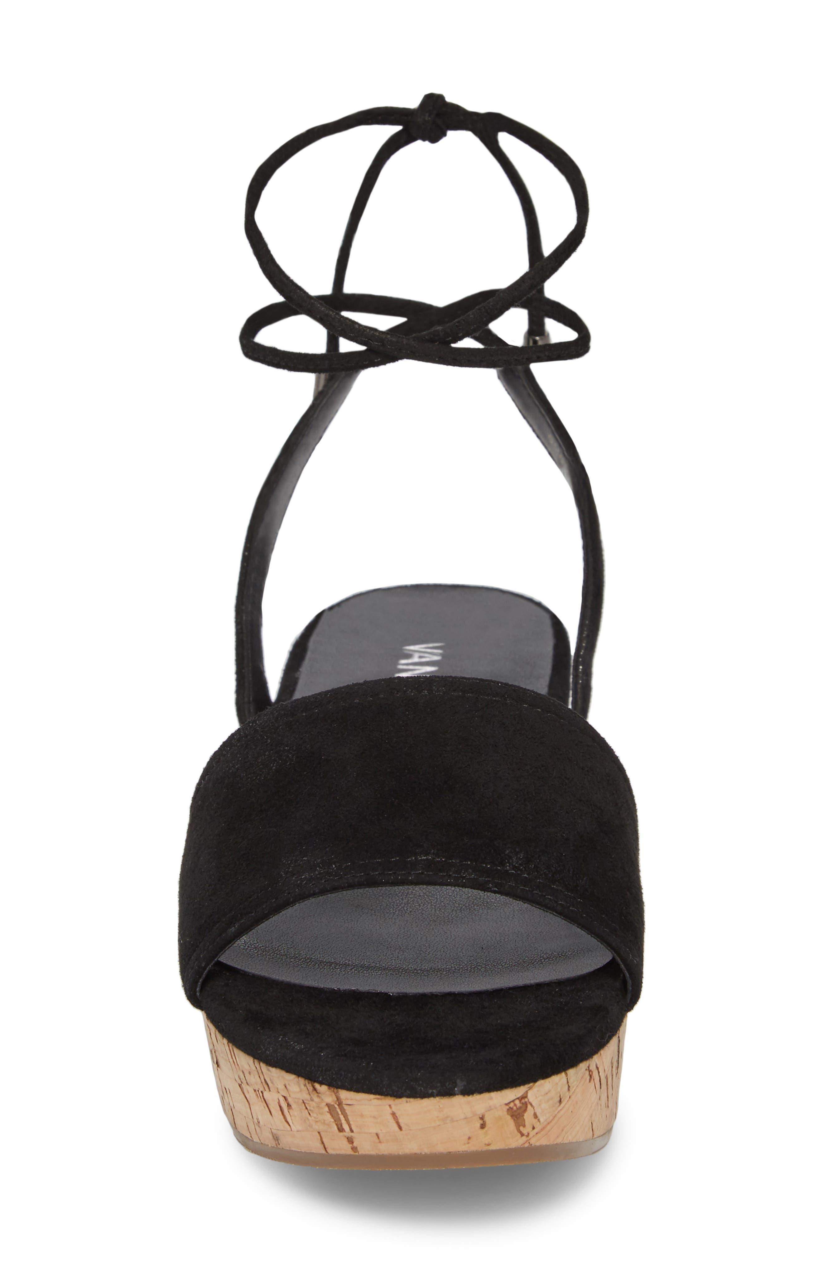 Saba Platform Sandal,                             Alternate thumbnail 4, color,                             Black Printed Suede