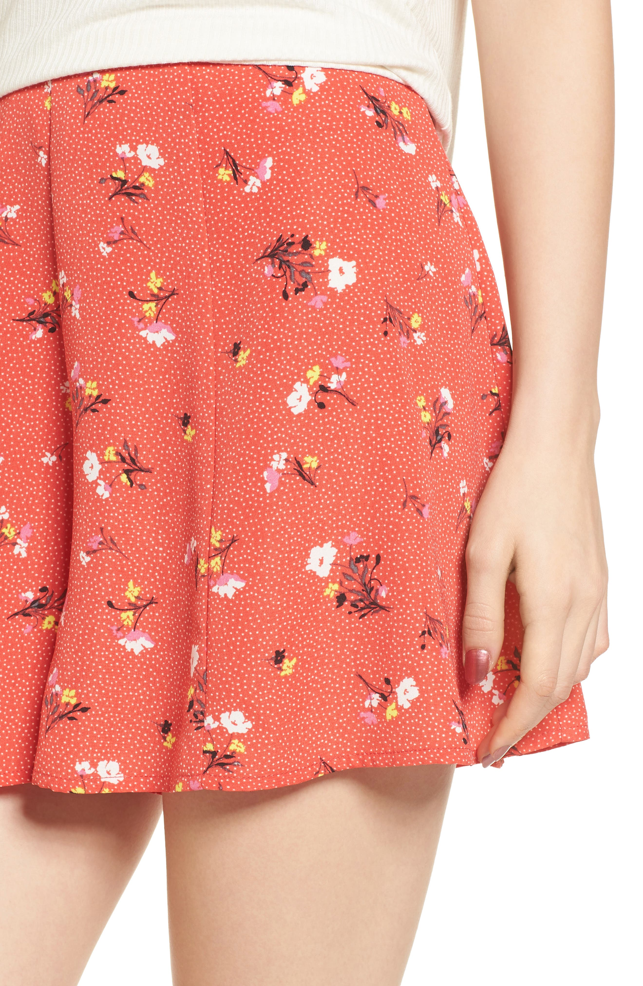 Print High Waist Shorts,                             Alternate thumbnail 5, color,                             Red Dot Floral