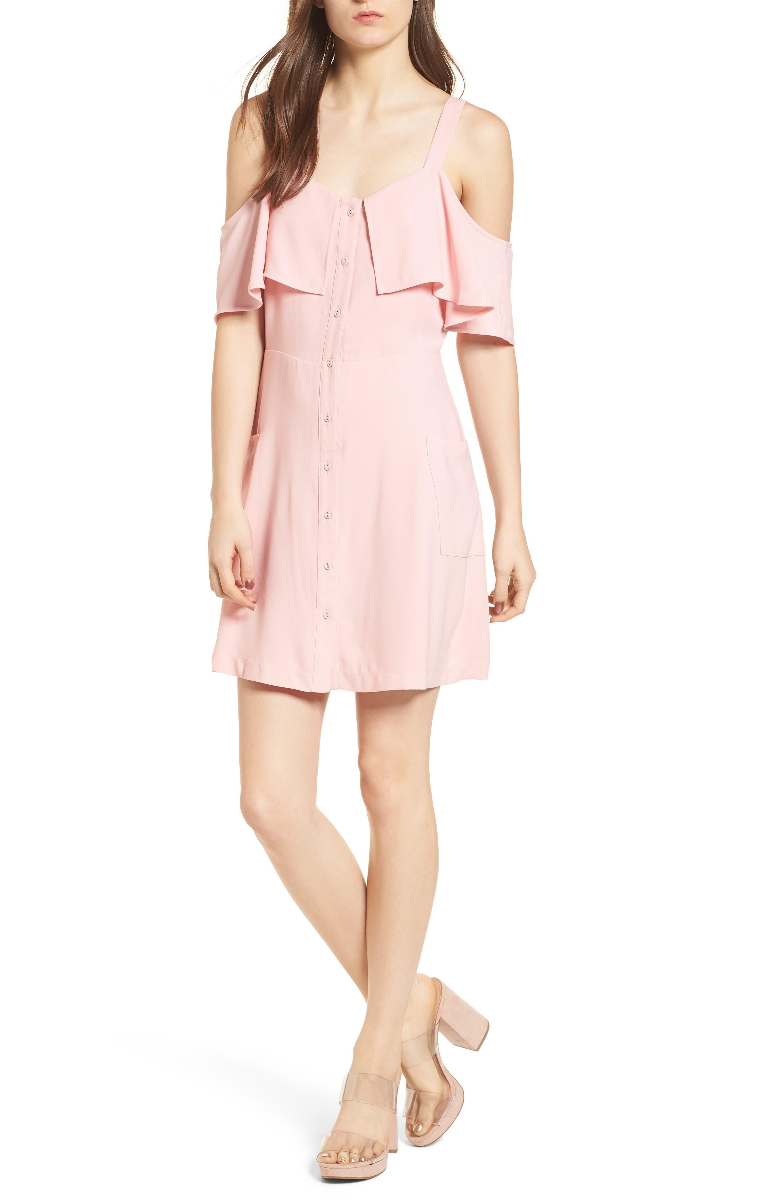 Cold Shoulder Dress,                             Main thumbnail 1, color,                             Peach