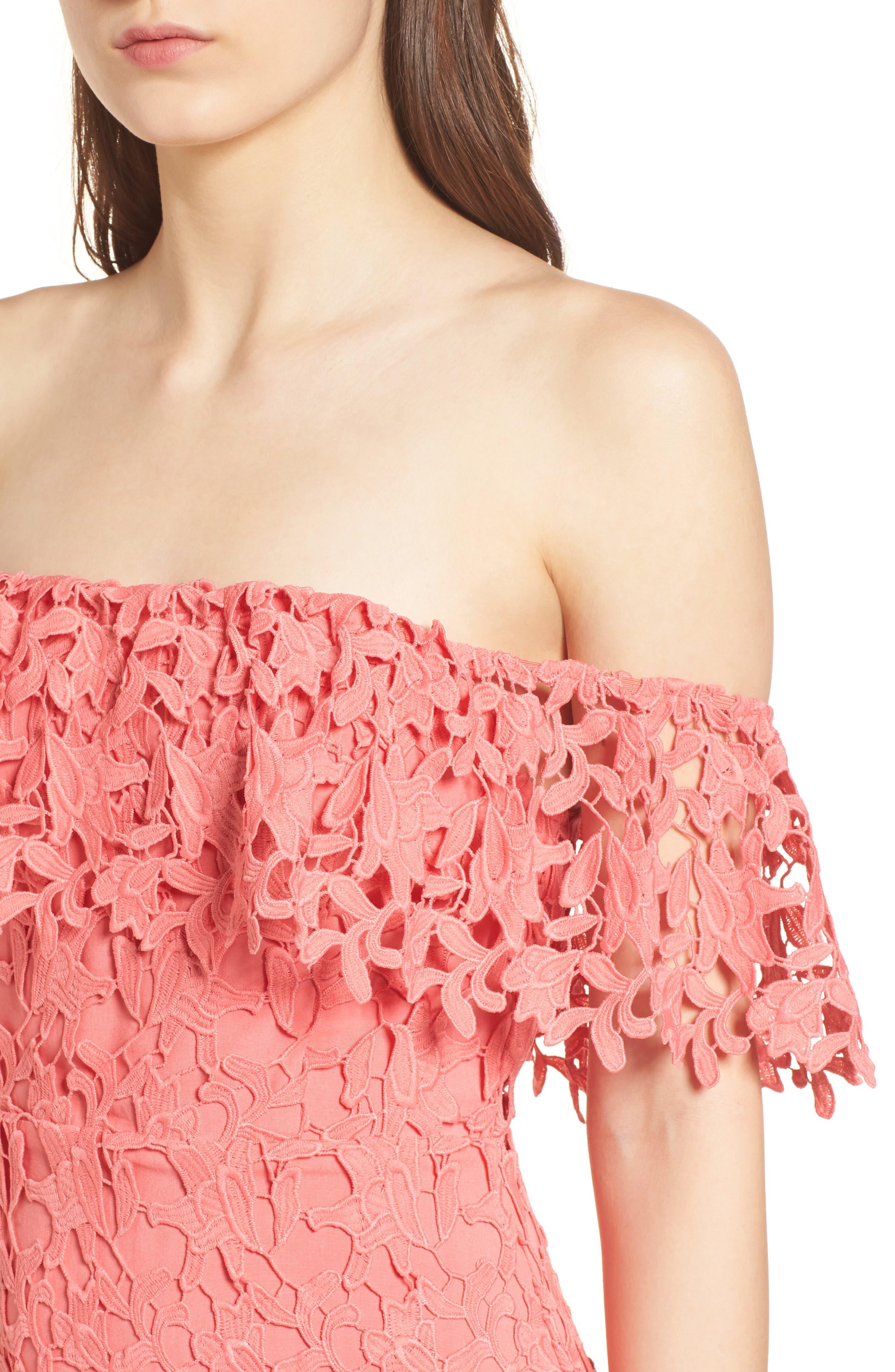 Off the Shoulder Lace Minidress,                             Alternate thumbnail 4, color,                             Coral