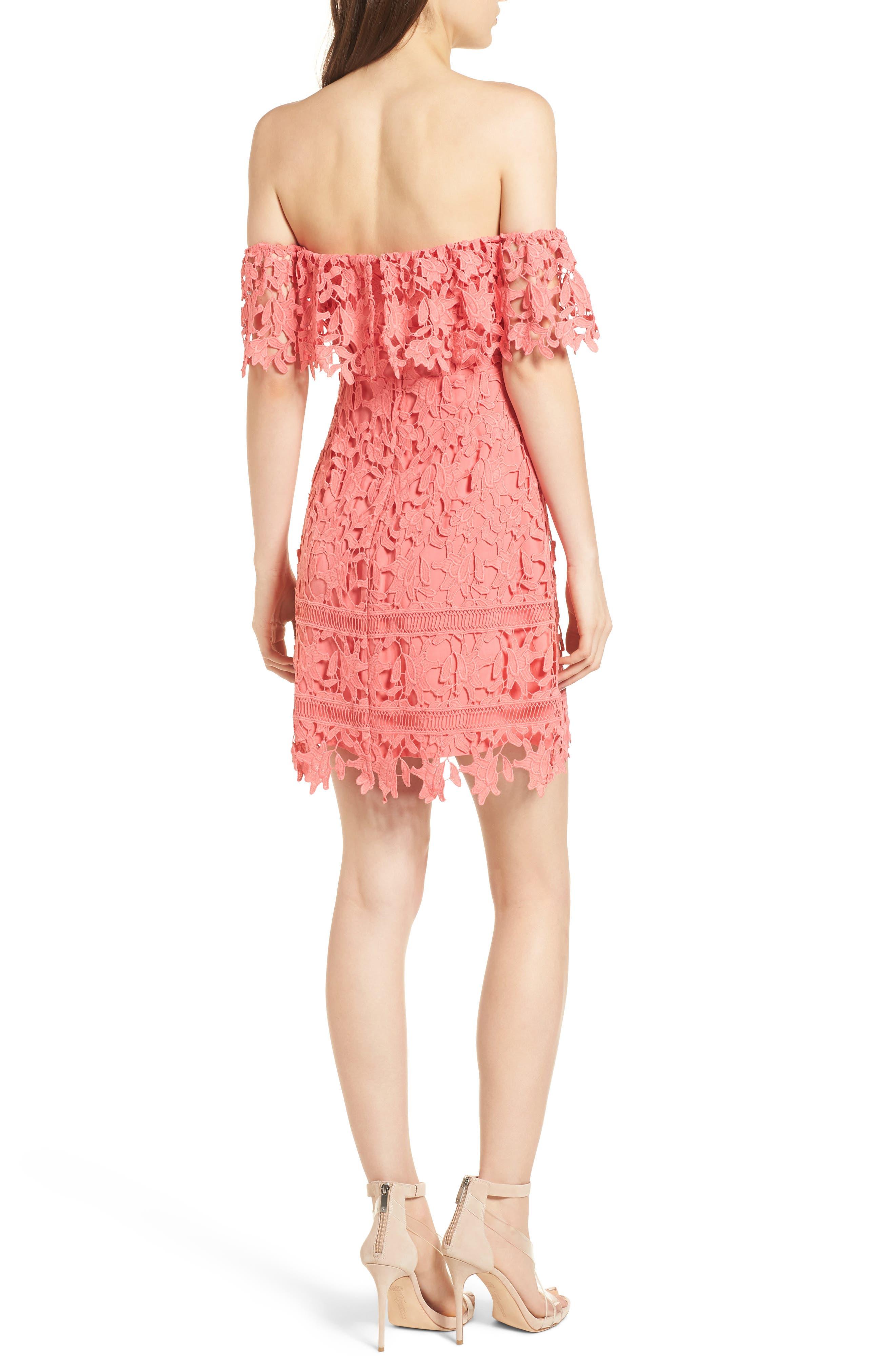 Off the Shoulder Lace Minidress,                             Alternate thumbnail 2, color,                             Coral
