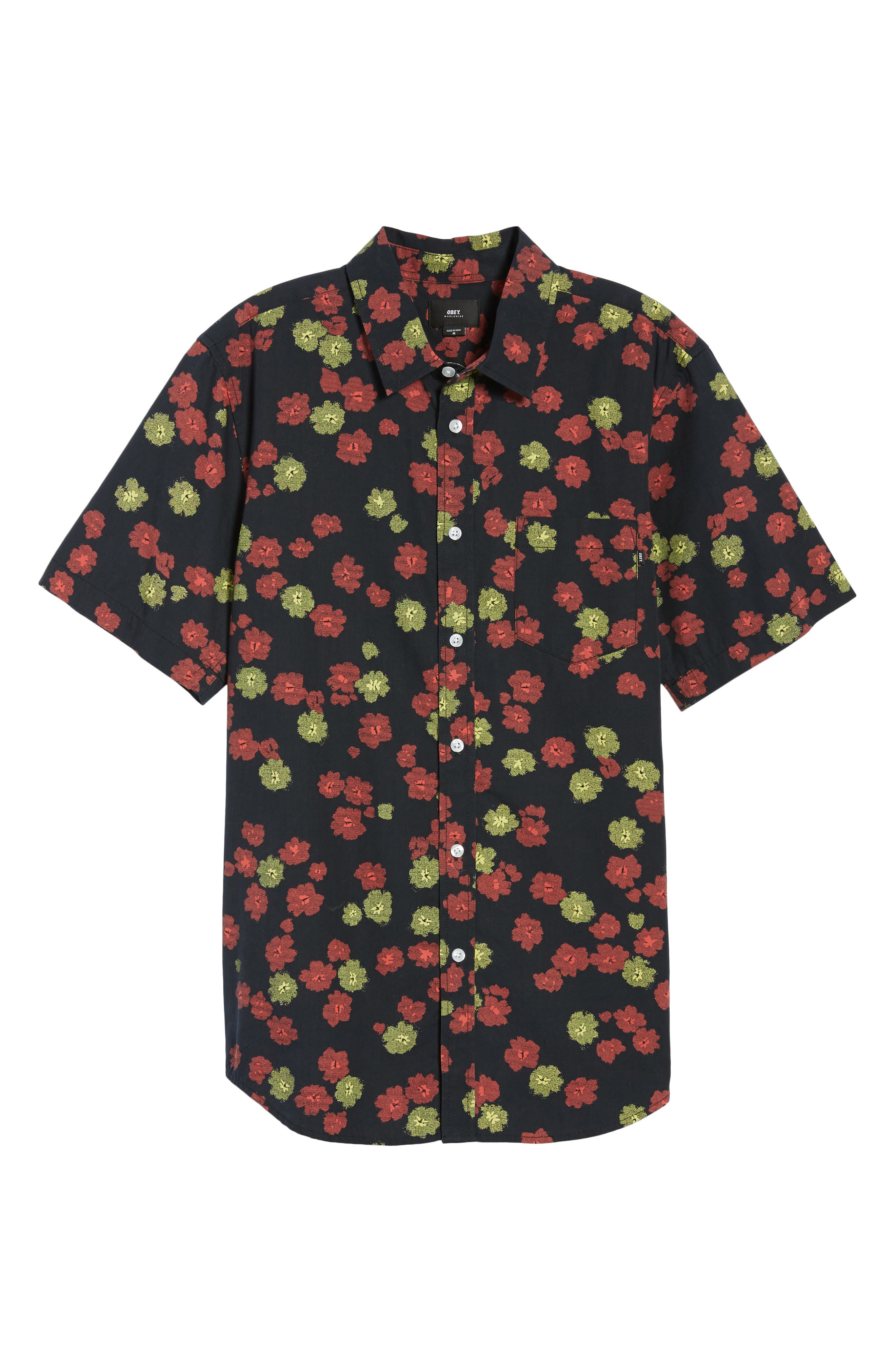 Felix Poplin Shirt,                             Alternate thumbnail 6, color,                             Black Multi