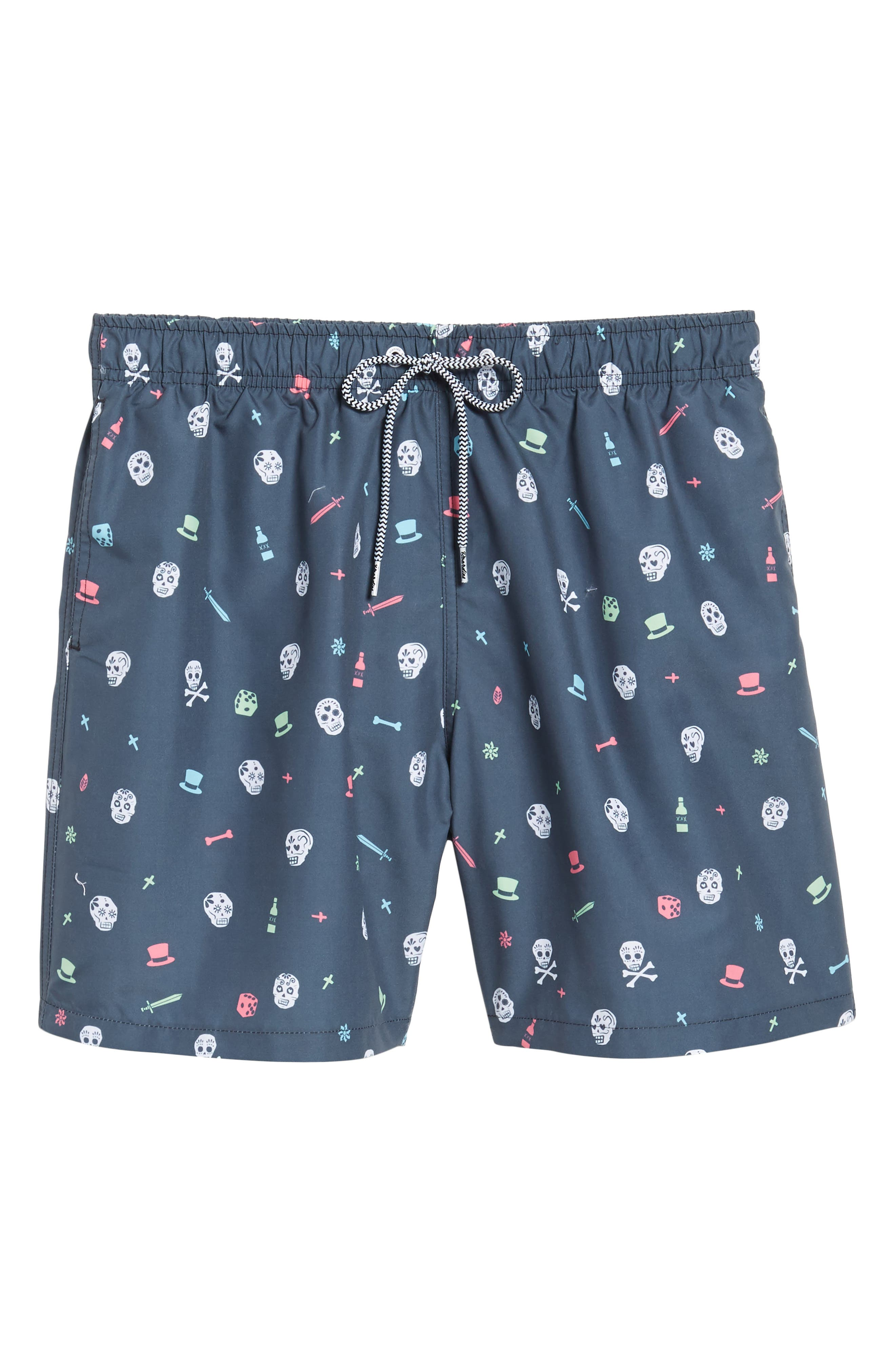 Day of the Dead Print Swim Shorts,                             Alternate thumbnail 4, color,                             Charcoal