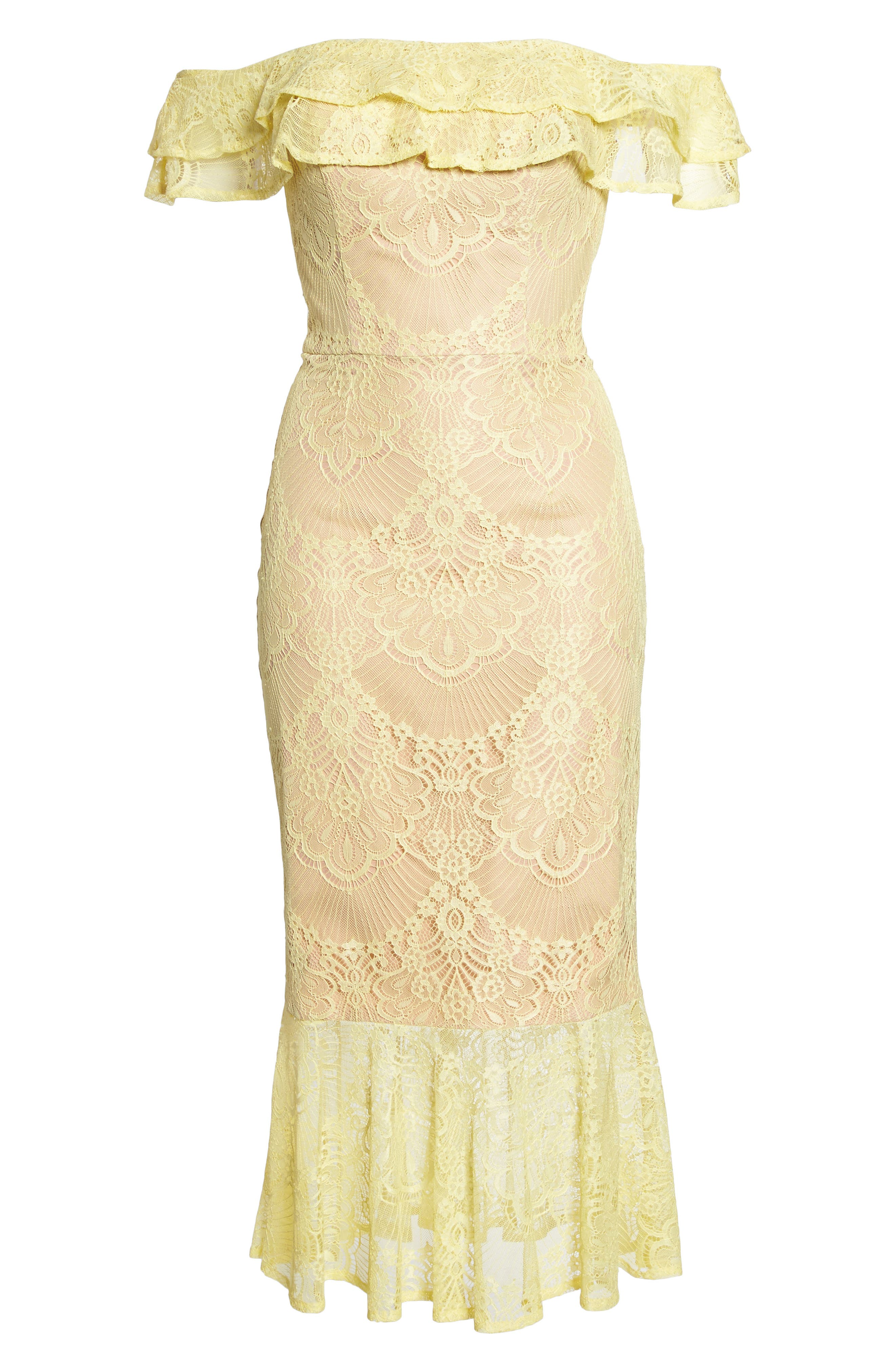 Toril Off the Shoulder Lace Midi Dress,                             Alternate thumbnail 6, color,                             Yellow