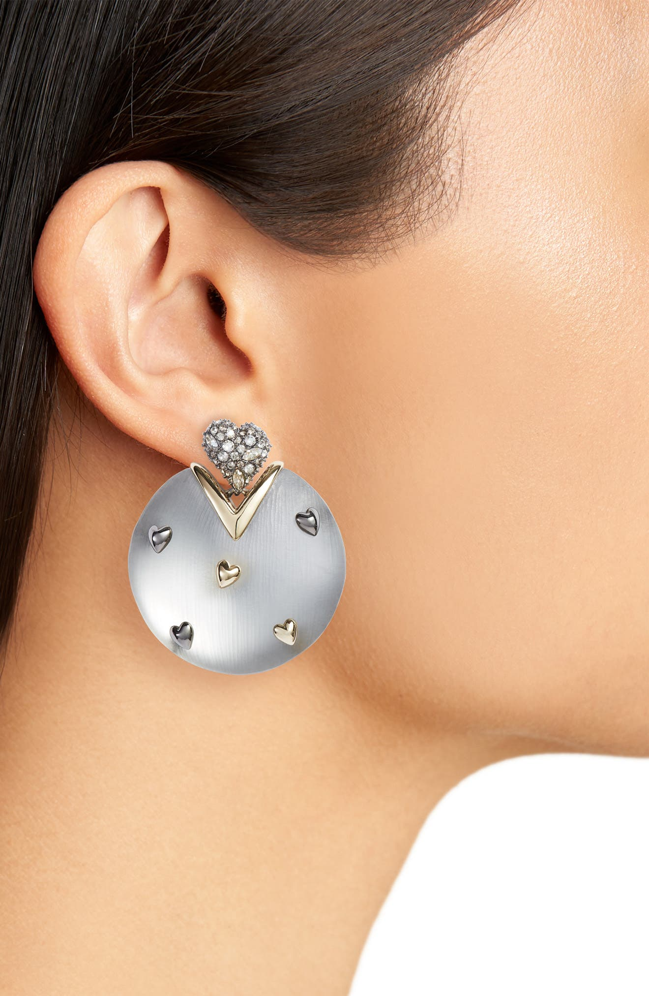 Crystal Heart & Lucite<sup>®</sup> Drop Earrings,                             Alternate thumbnail 2, color,                             Grey