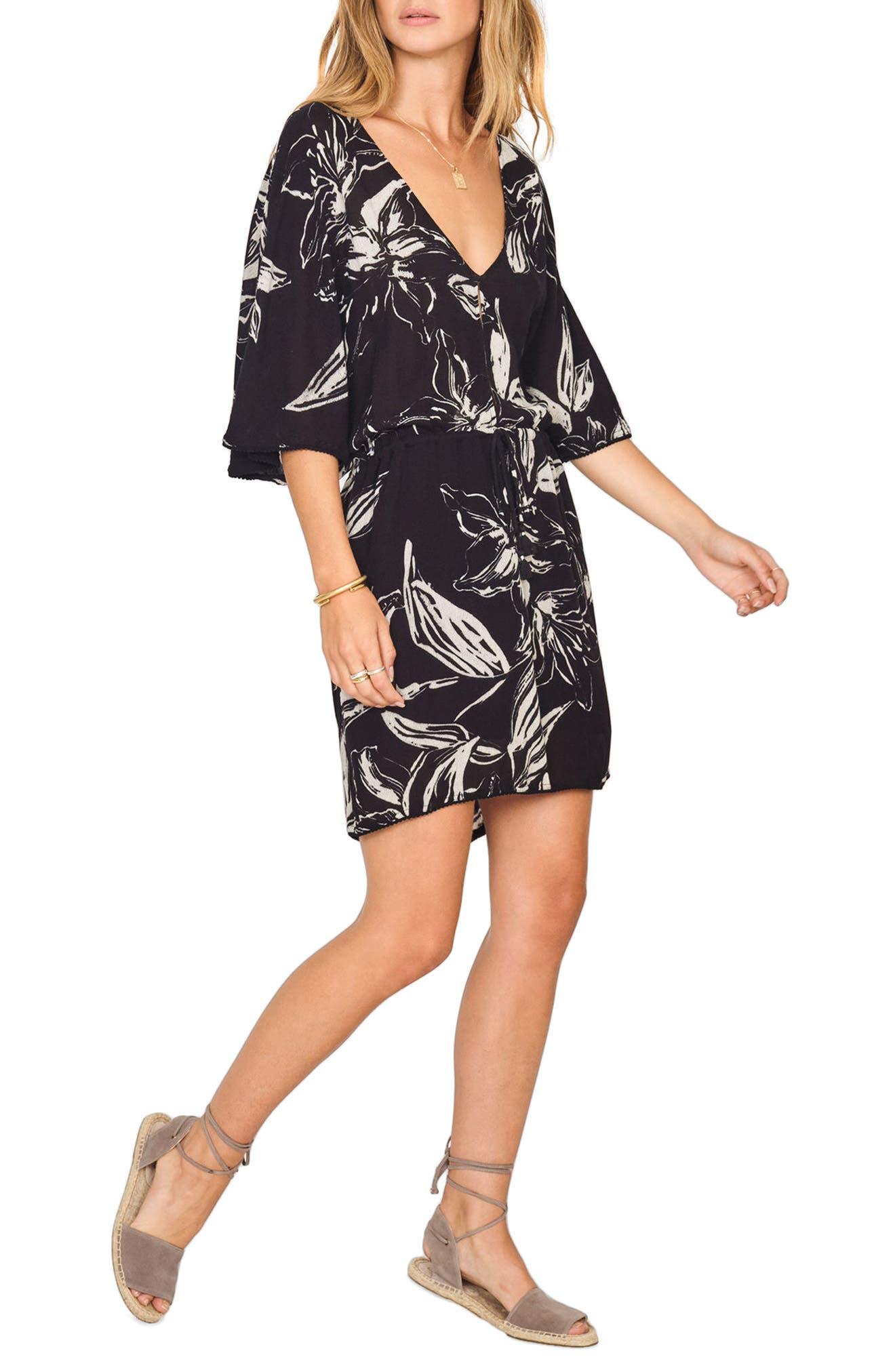 Cross My Heart Floral Print Dress,                         Main,                         color, Black Sands