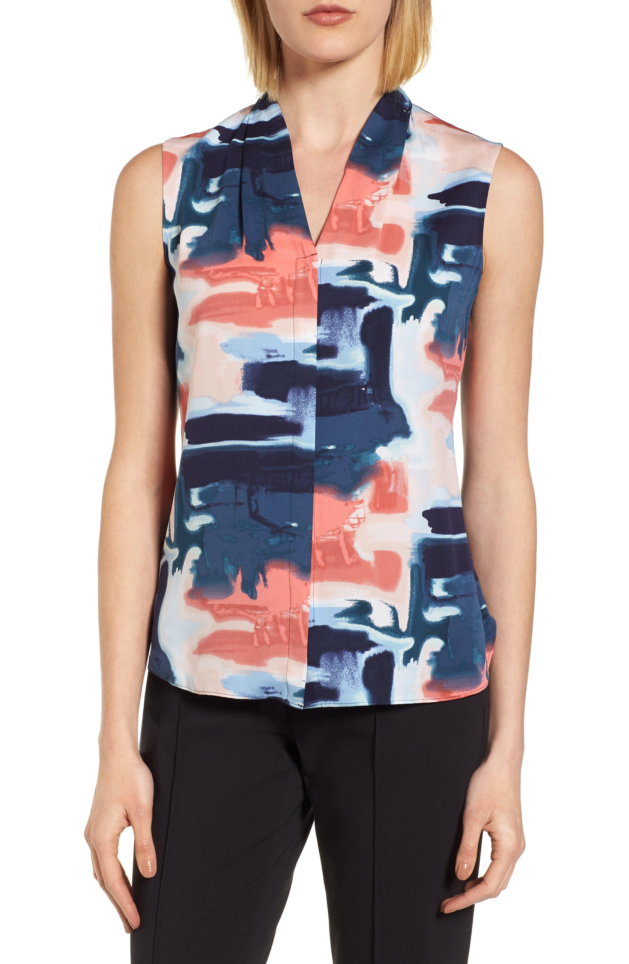 Abstract Print Silk Blend Blouse,                         Main,                         color, Art Stripe