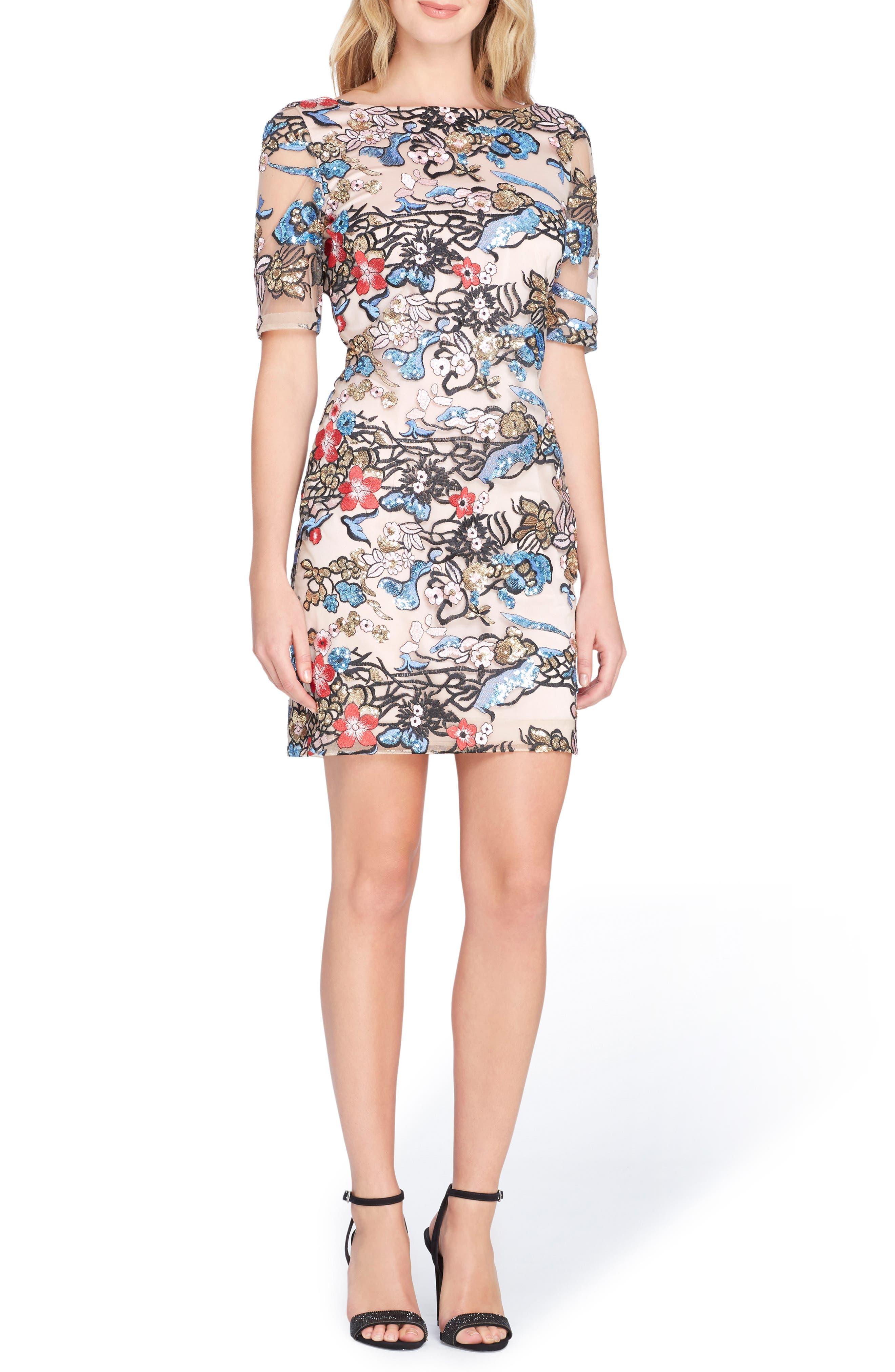 Embroidered Sequin Sheath Dress,                         Main,                         color, Blush/ Peri/ Black