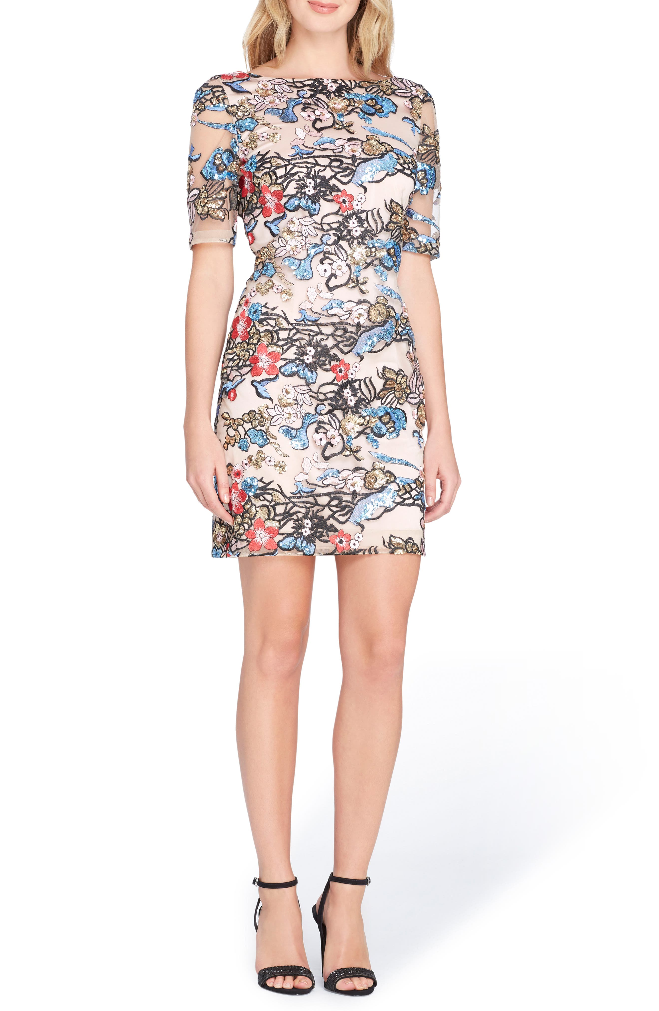 Tahari Embroidered Sequin Sheath Dress