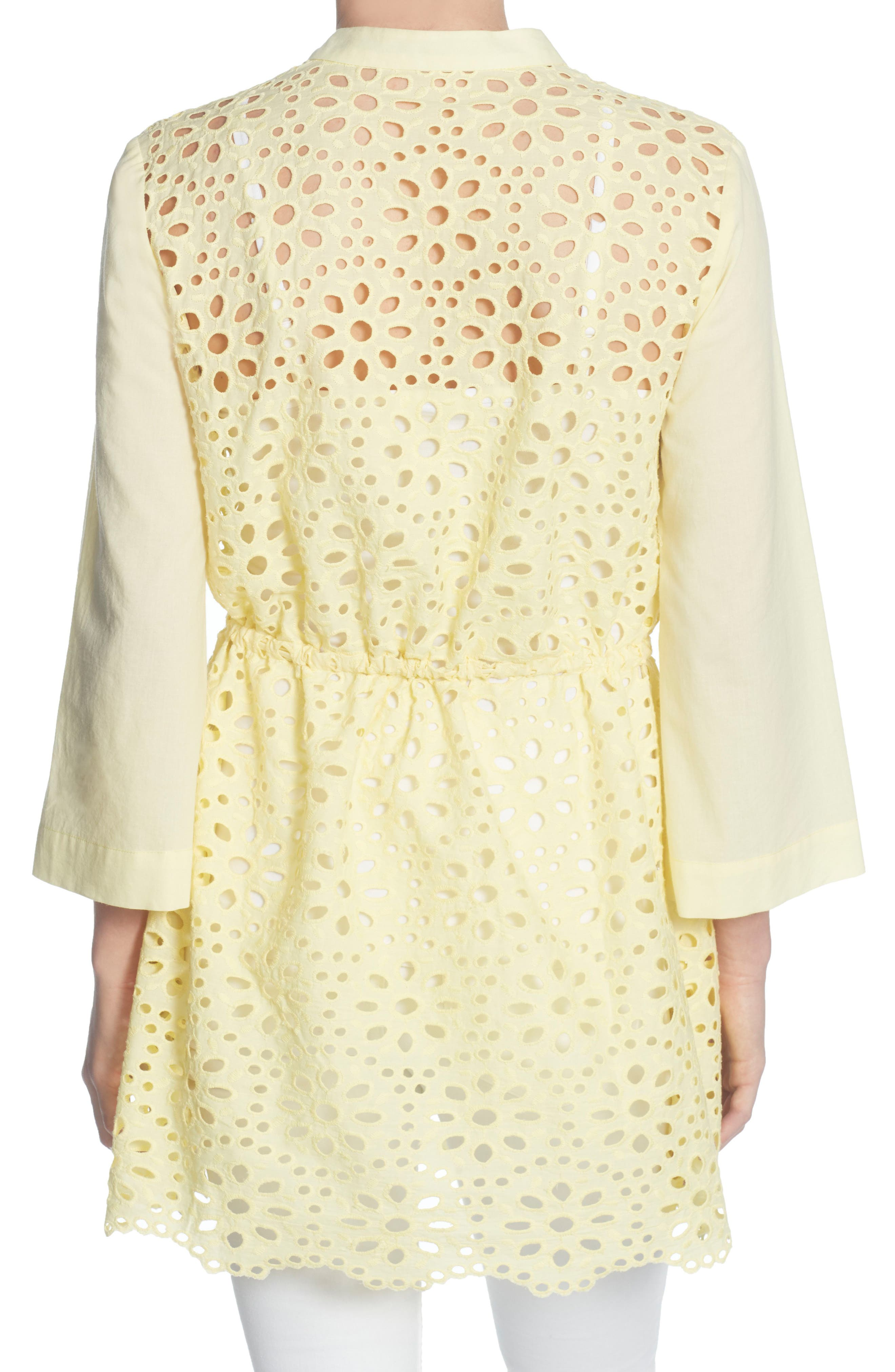Emelia Eyelet Tie Front Tunic,                             Alternate thumbnail 2, color,                             Buttermilk