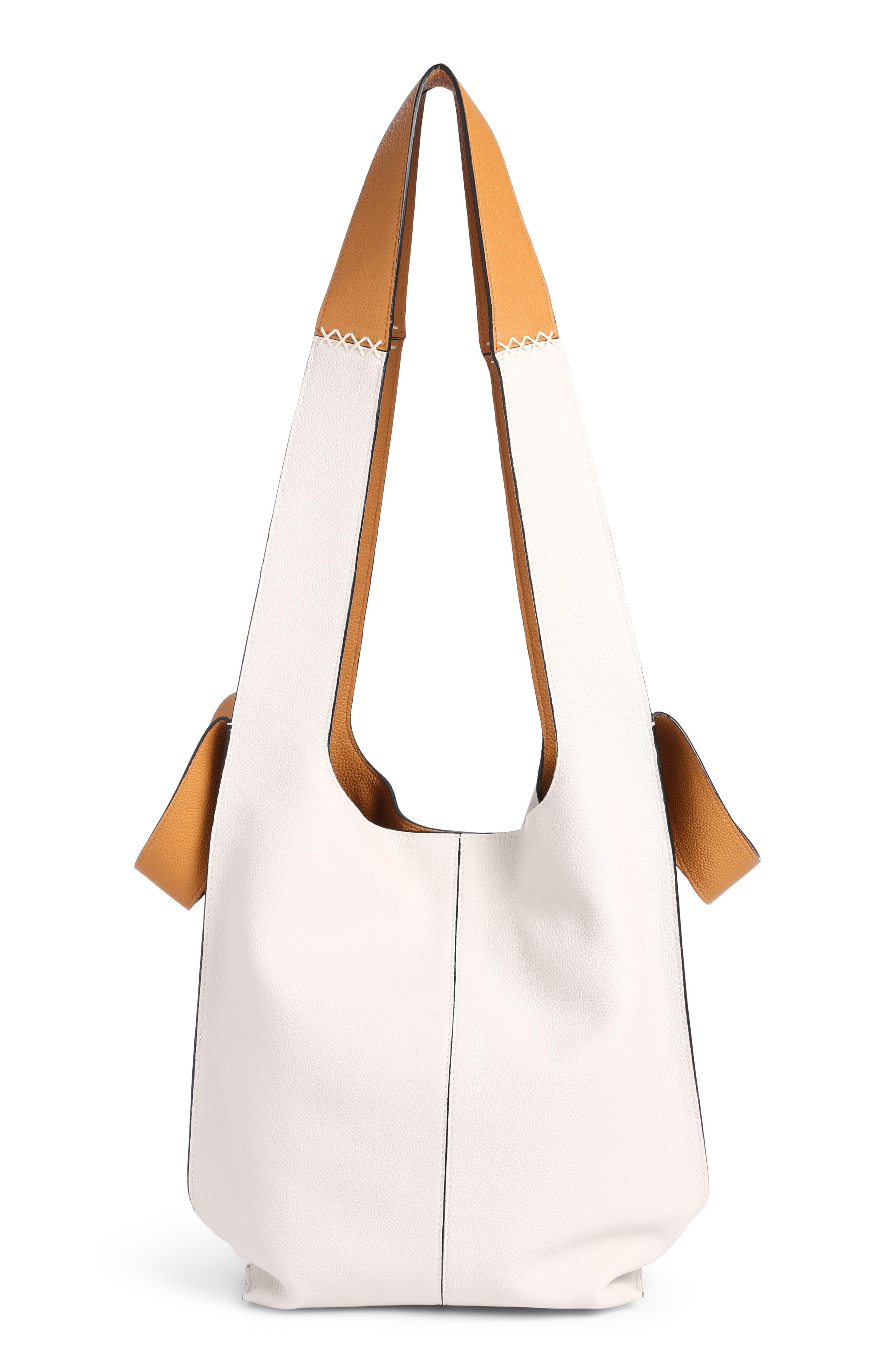 Leather Hobo Tote Bag,                             Alternate thumbnail 2, color,                             Soft White/ Amber