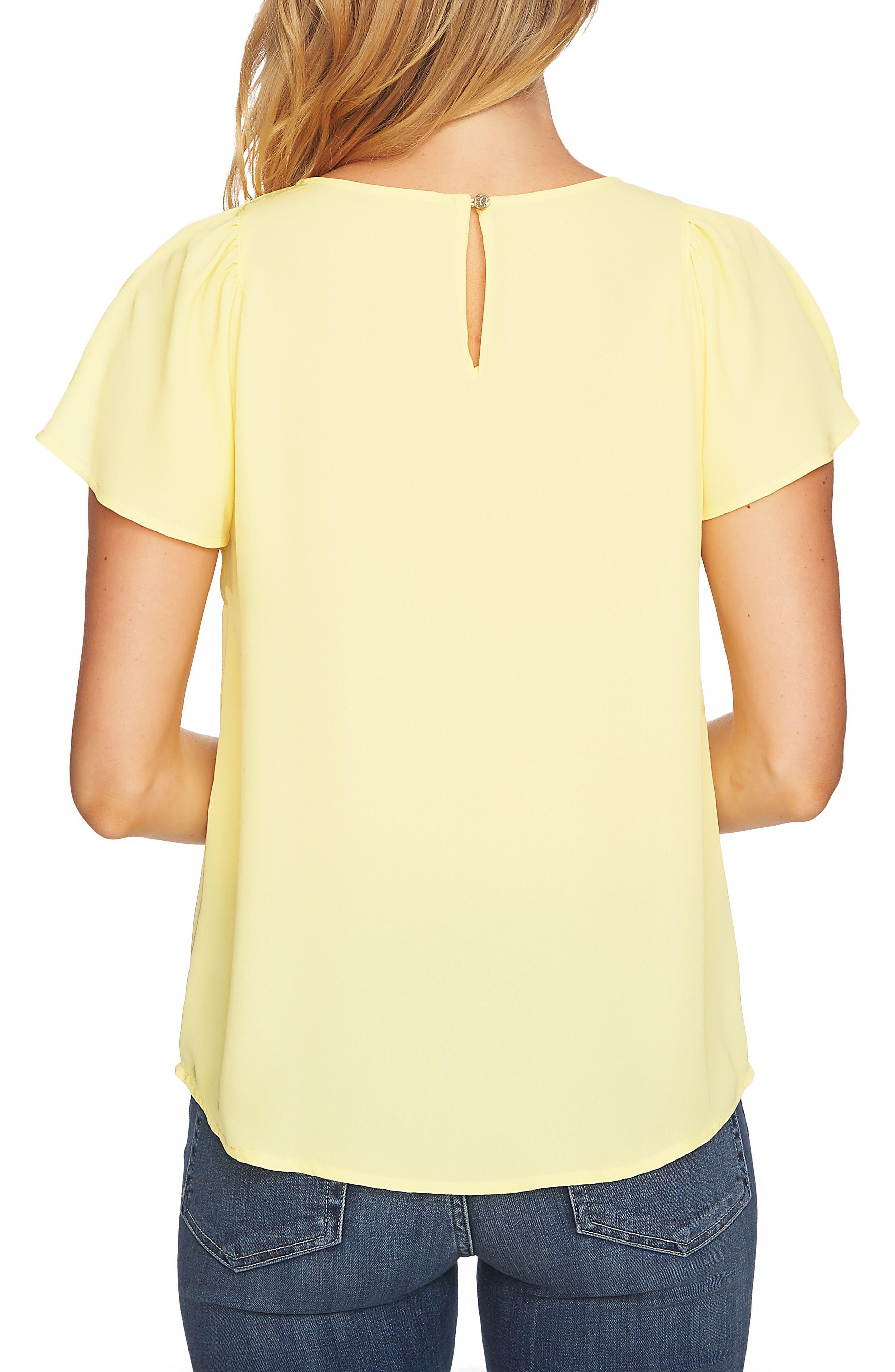 Crepe Flutter Sleeve Blouse,                             Alternate thumbnail 2, color,                             Finch Yellow