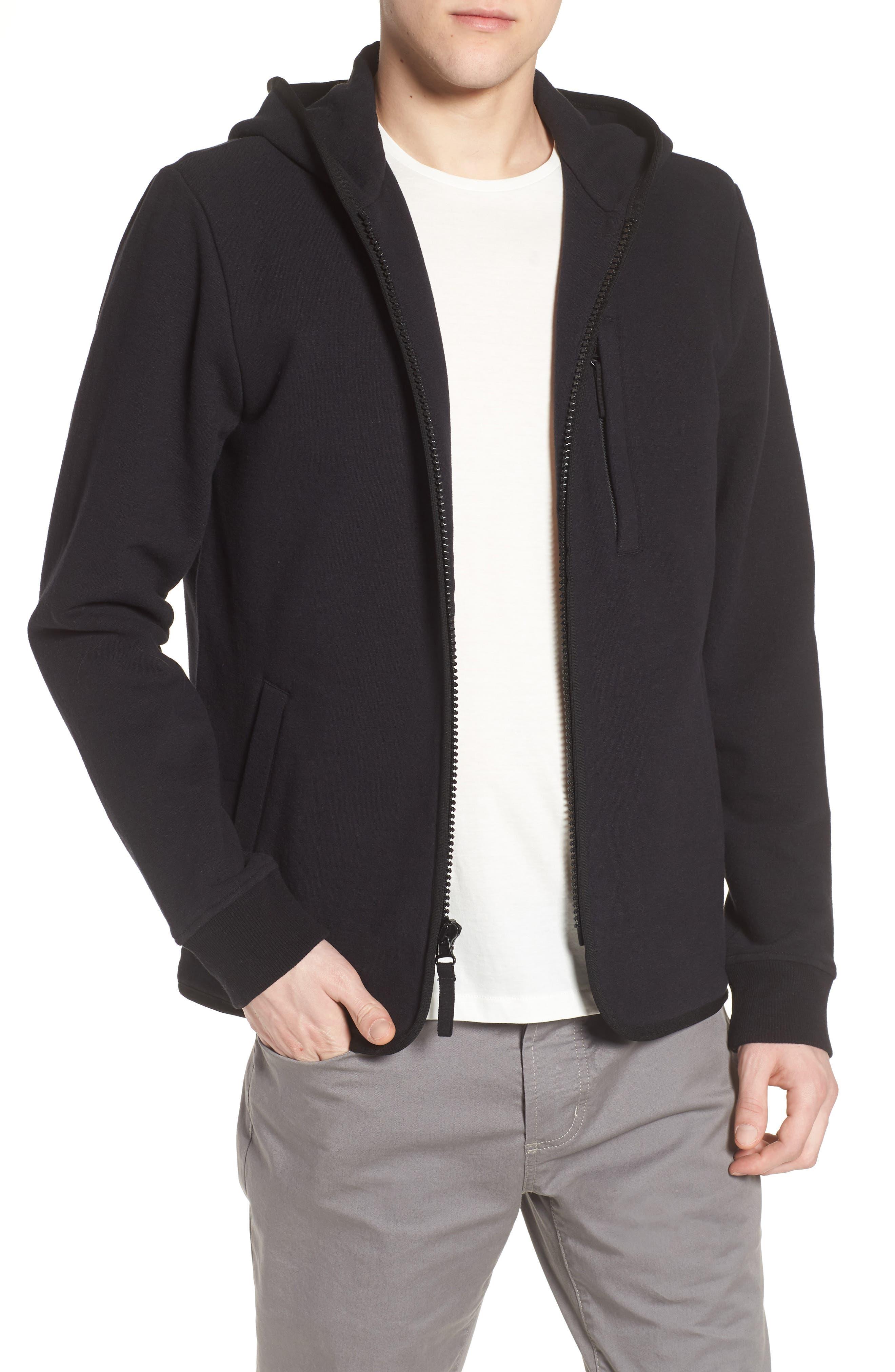 Cotton & Wool Zip Hoodie,                         Main,                         color, Black Black