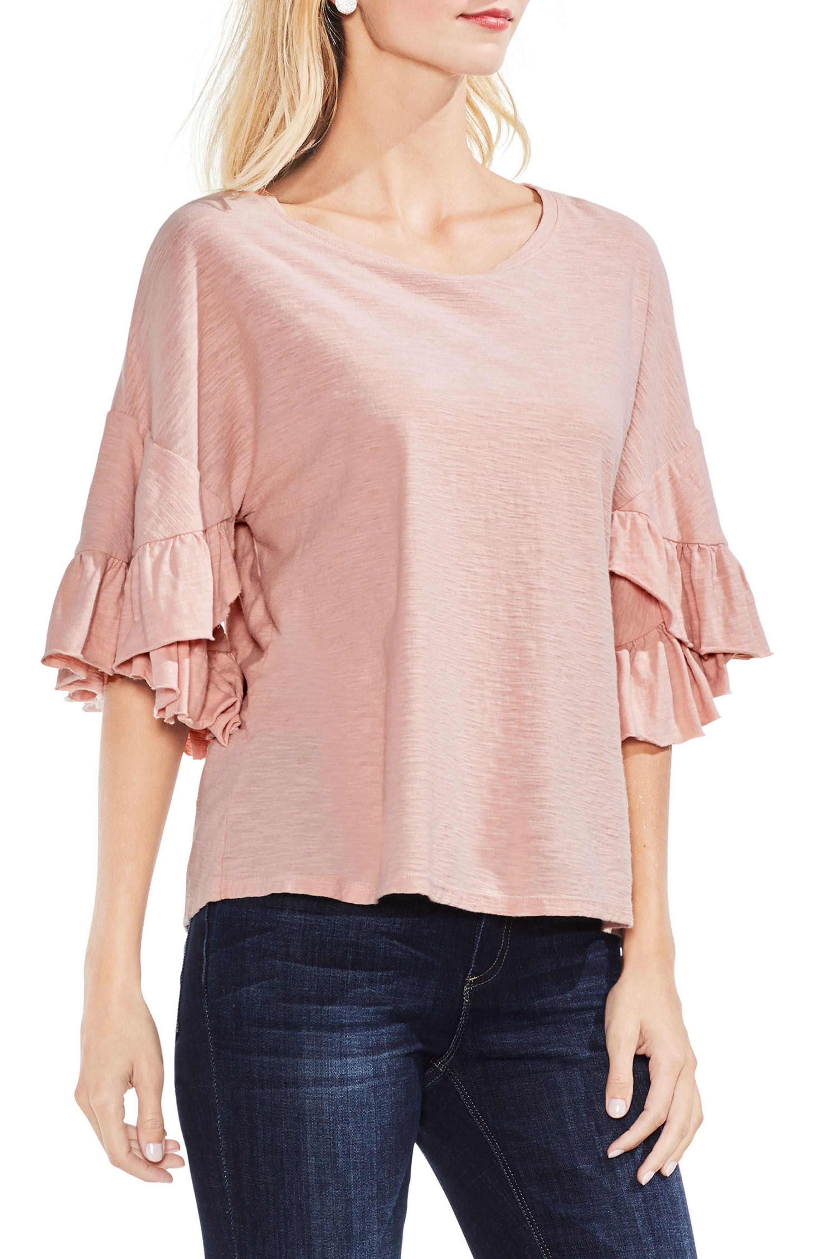 Tiered Ruffle Sleeve Top,                             Main thumbnail 1, color,                             Wild Rose