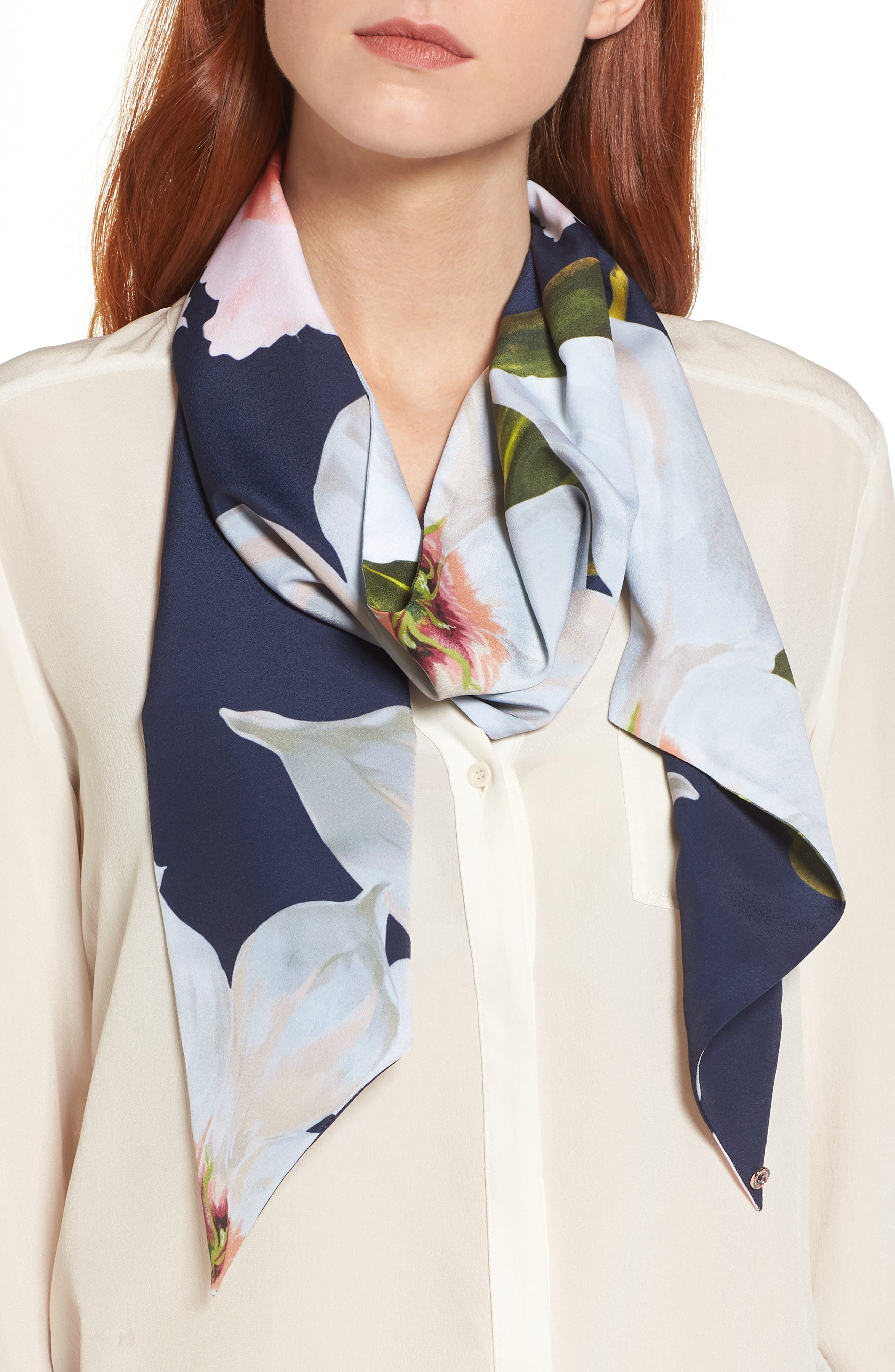 Chatsworth Bloom Skinny Scarf,                         Main,                         color, Navy
