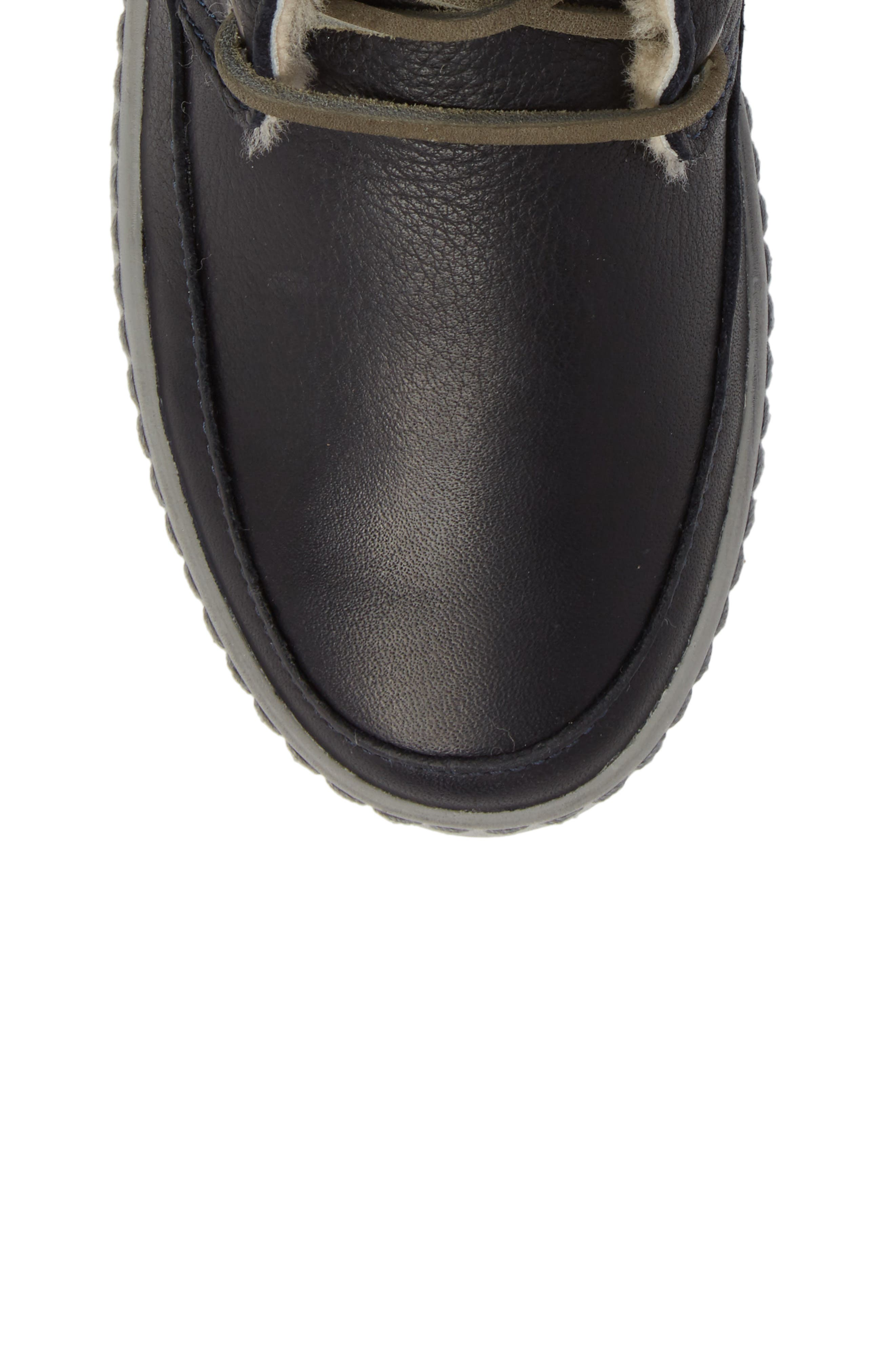 'CW96' Genuine Shearling Lined Sneaker Boot,                             Alternate thumbnail 5, color,                             Dark Indigo Leather