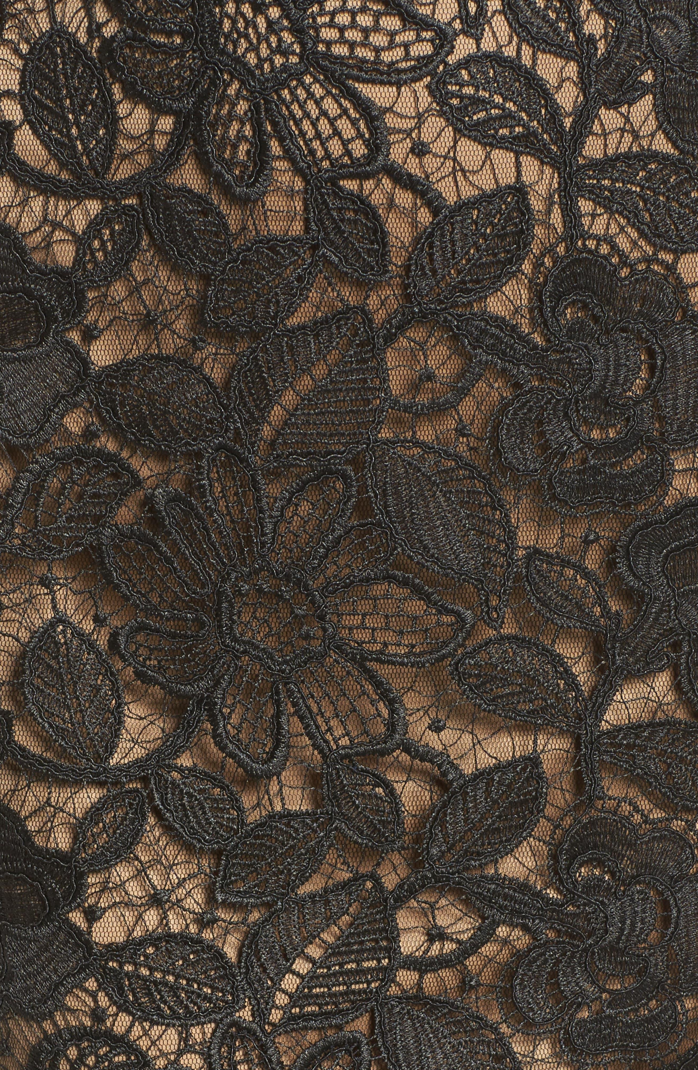 V-Neck Lace Sheath Dress,                             Alternate thumbnail 5, color,                             Black/ Nude