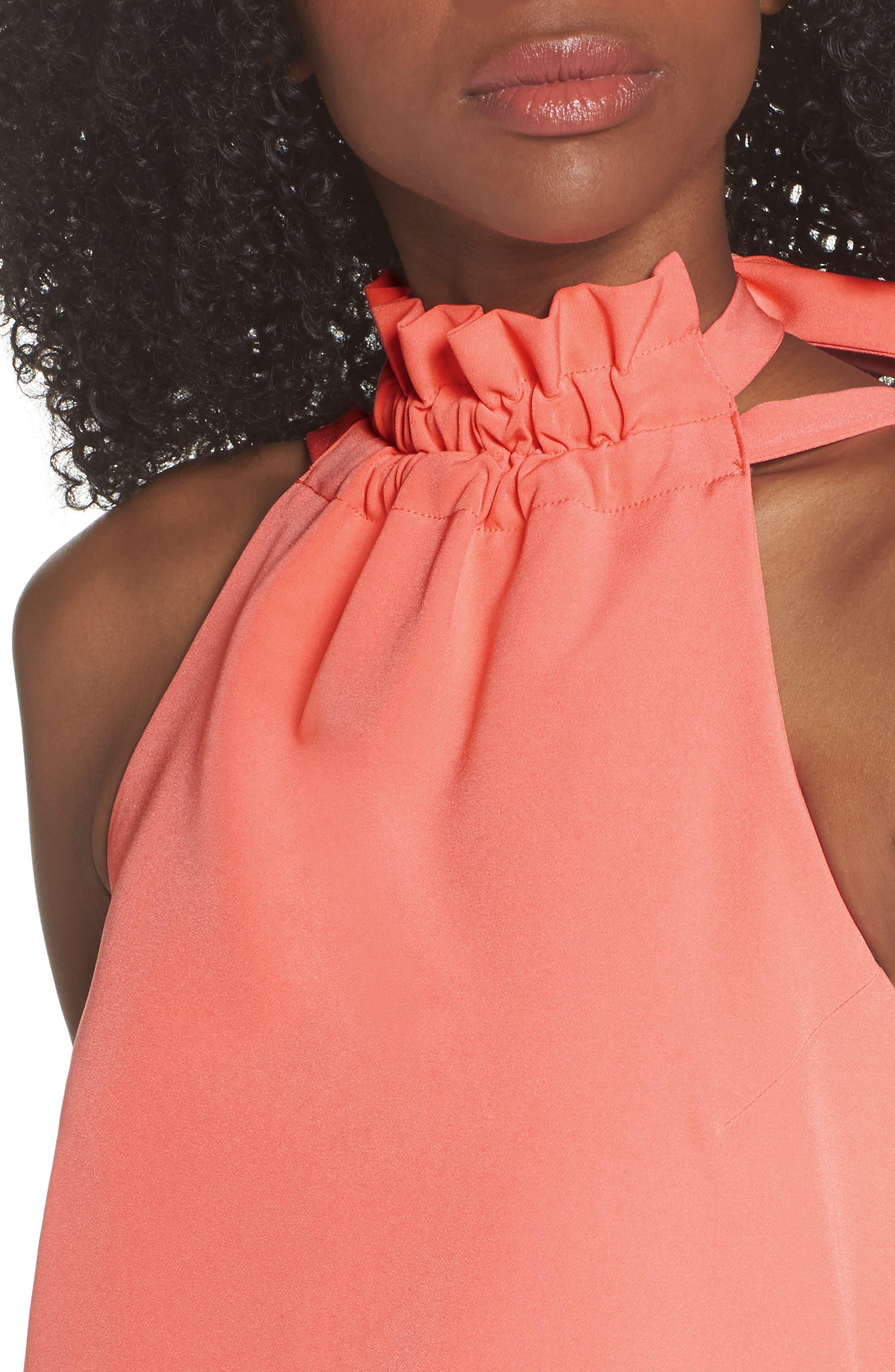 Halter Shift Dress,                             Alternate thumbnail 4, color,                             Sun Salmon