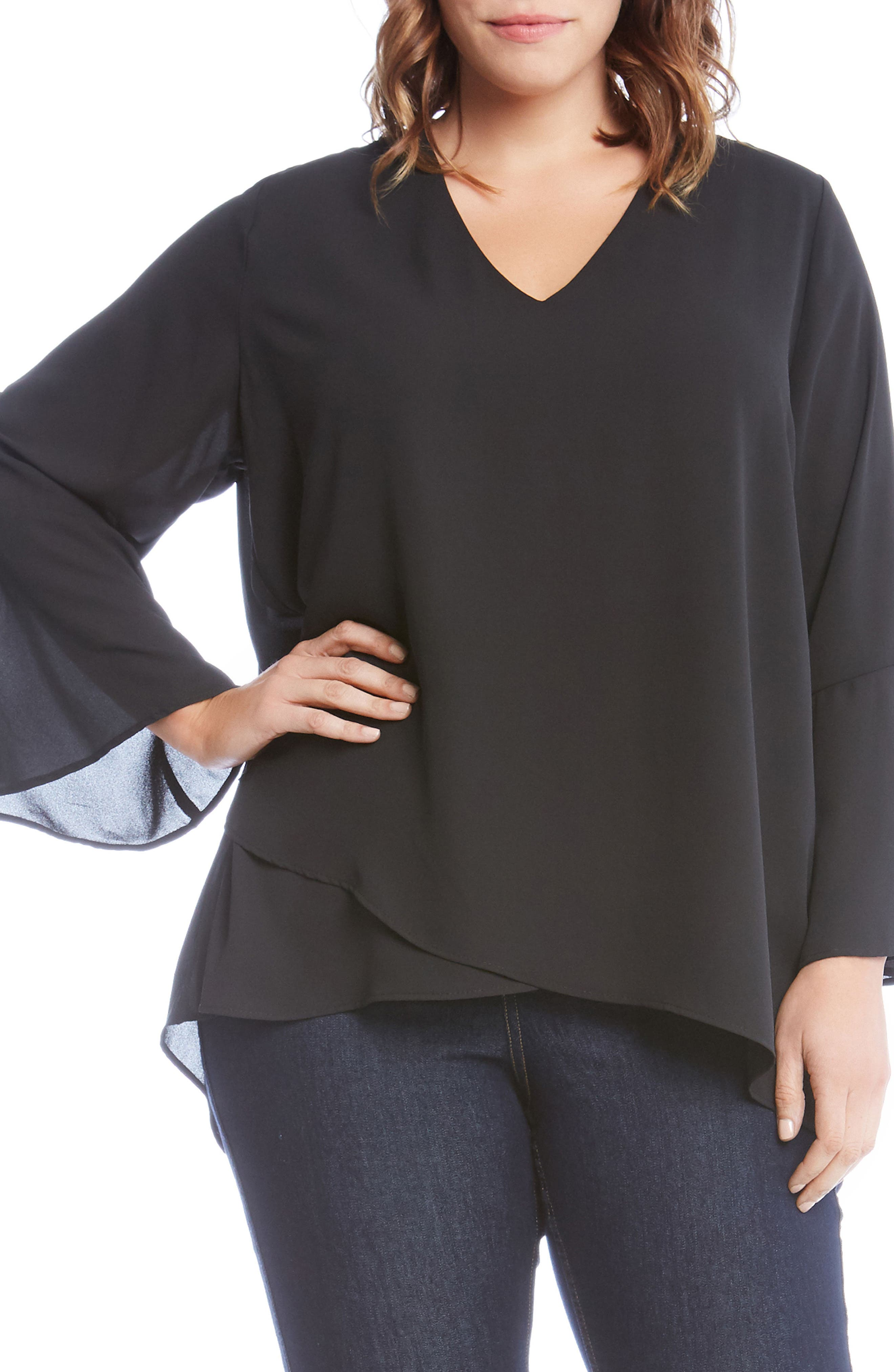 Asymmetrical Tie Sleeve Top,                         Main,                         color, Black