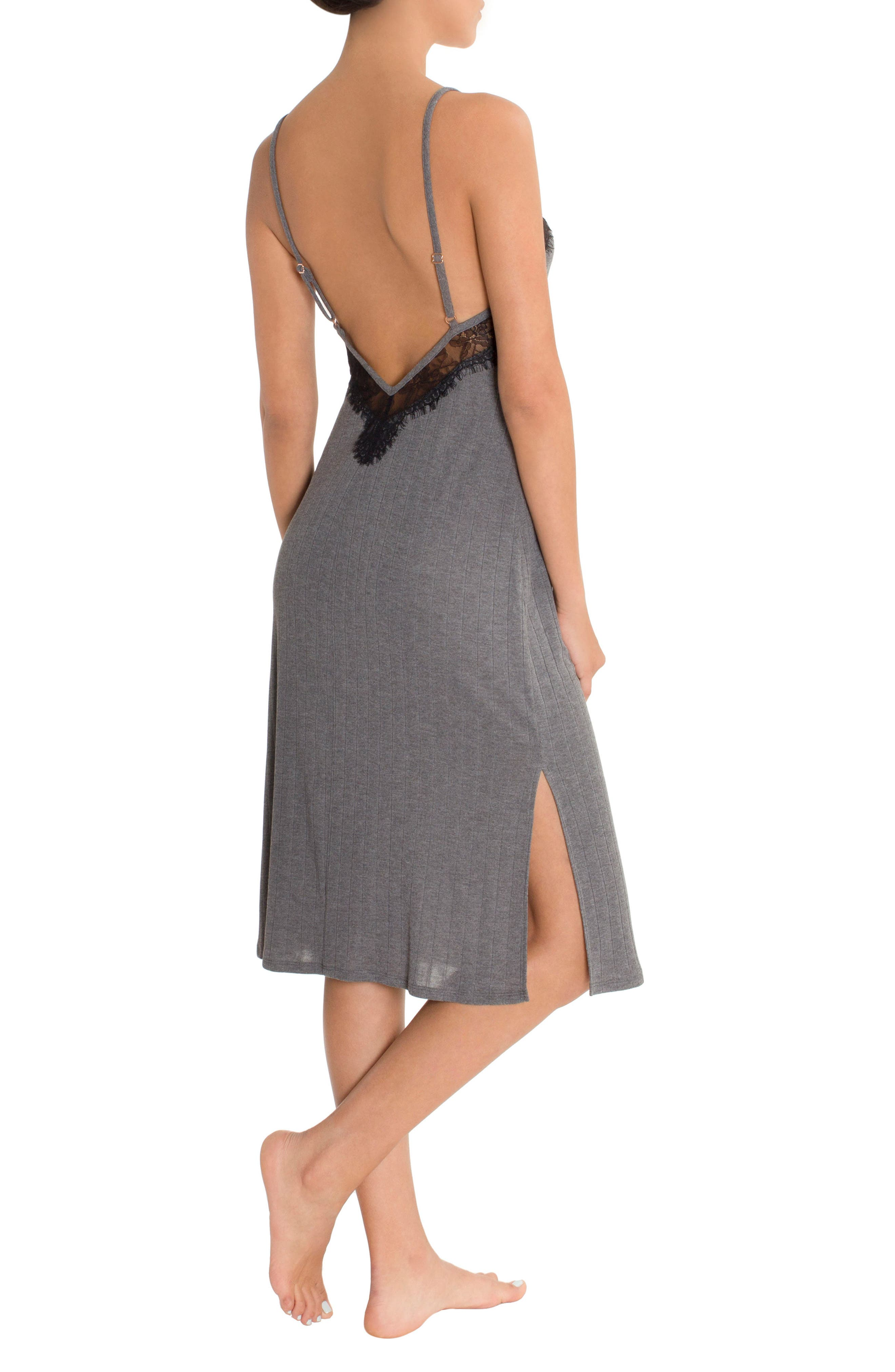 Ribbed Midi Nightgown,                             Alternate thumbnail 2, color,                             Charcoal