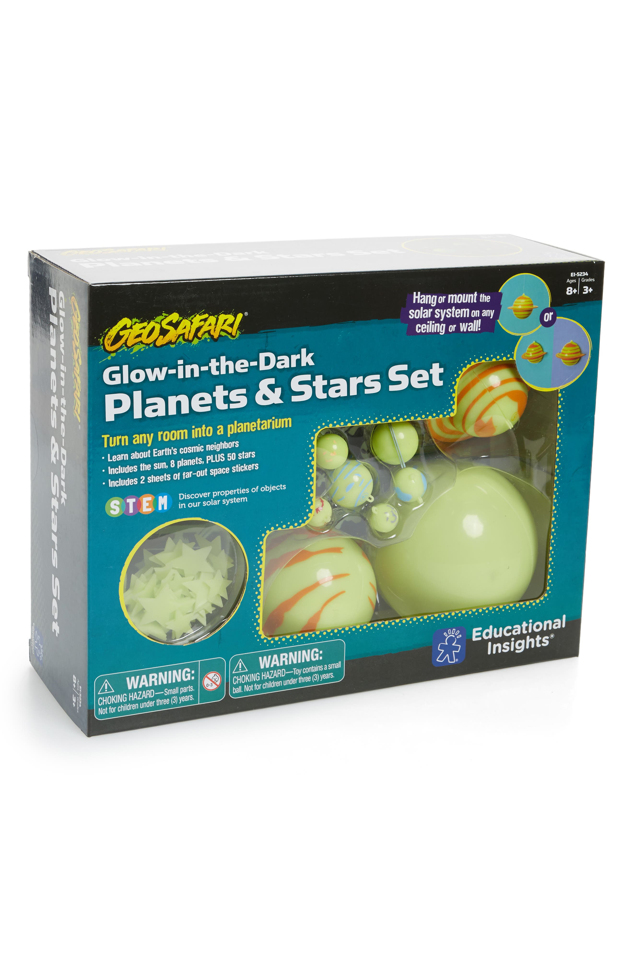 59-Piece Glow in the Dark Planets & Stars Set,                         Main,                         color, Green