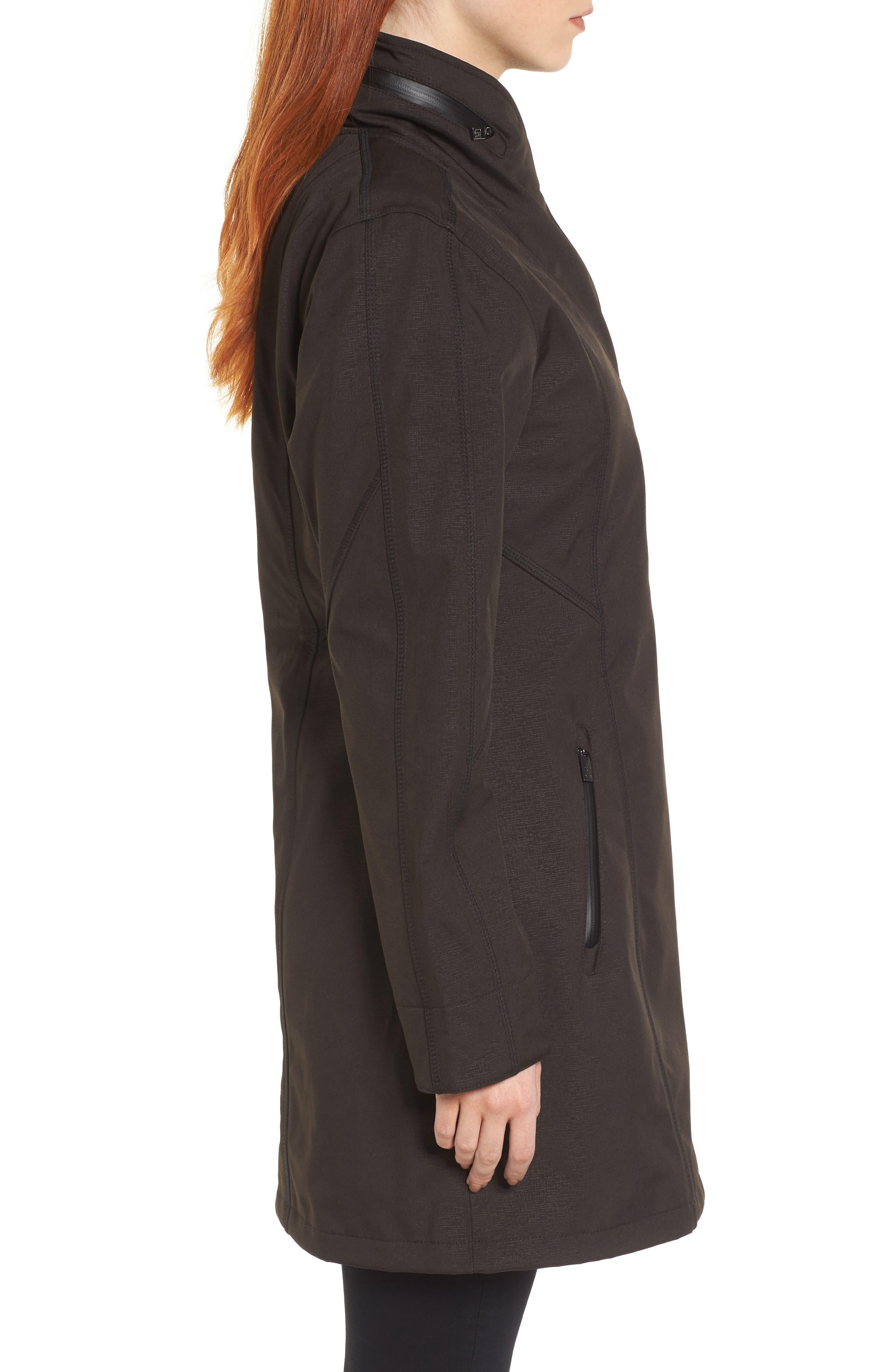 Hornbaek Soft Shell Raincoat,                             Alternate thumbnail 3, color,                             Black