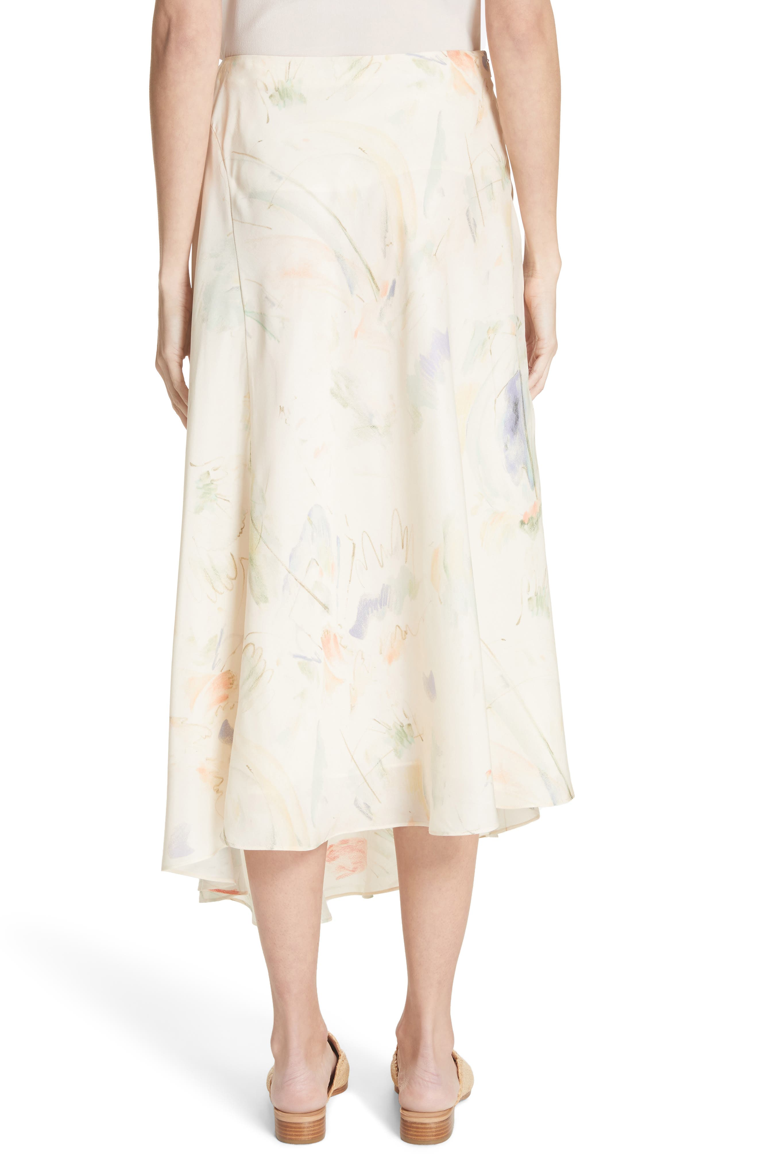 Dessie Modern Muse Print Silk Midi Skirt,                             Alternate thumbnail 2, color,                             Raffia Multi