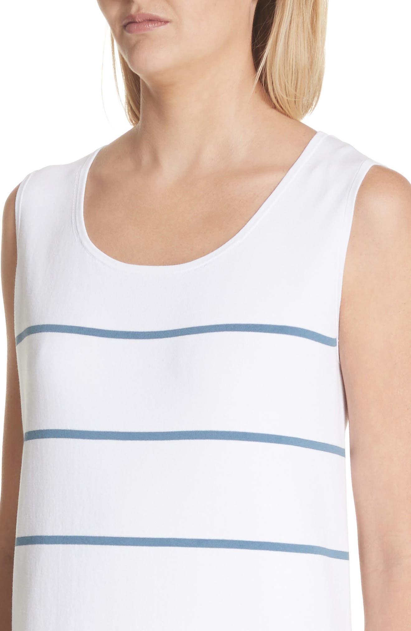 Stripe Sheer Hem Tank Dress,                             Alternate thumbnail 4, color,                             Placid Blue Multi