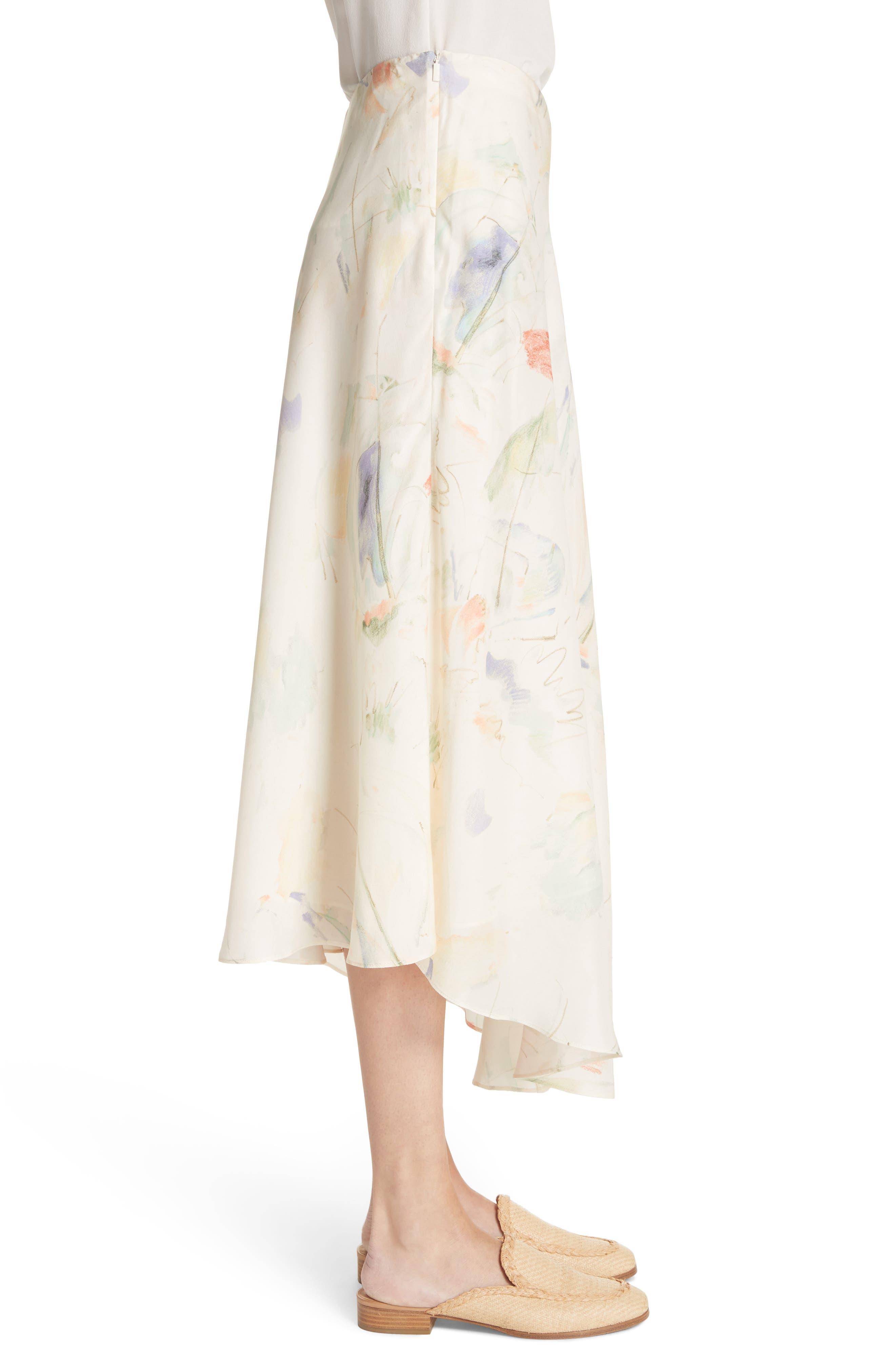 Dessie Modern Muse Print Silk Midi Skirt,                             Alternate thumbnail 3, color,                             Raffia Multi